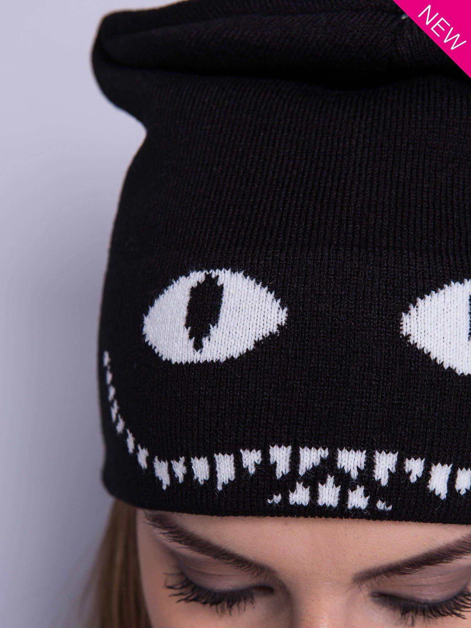 Czarna czapka beanie z oczami i z uśmiechem                                  zdj.                                  2