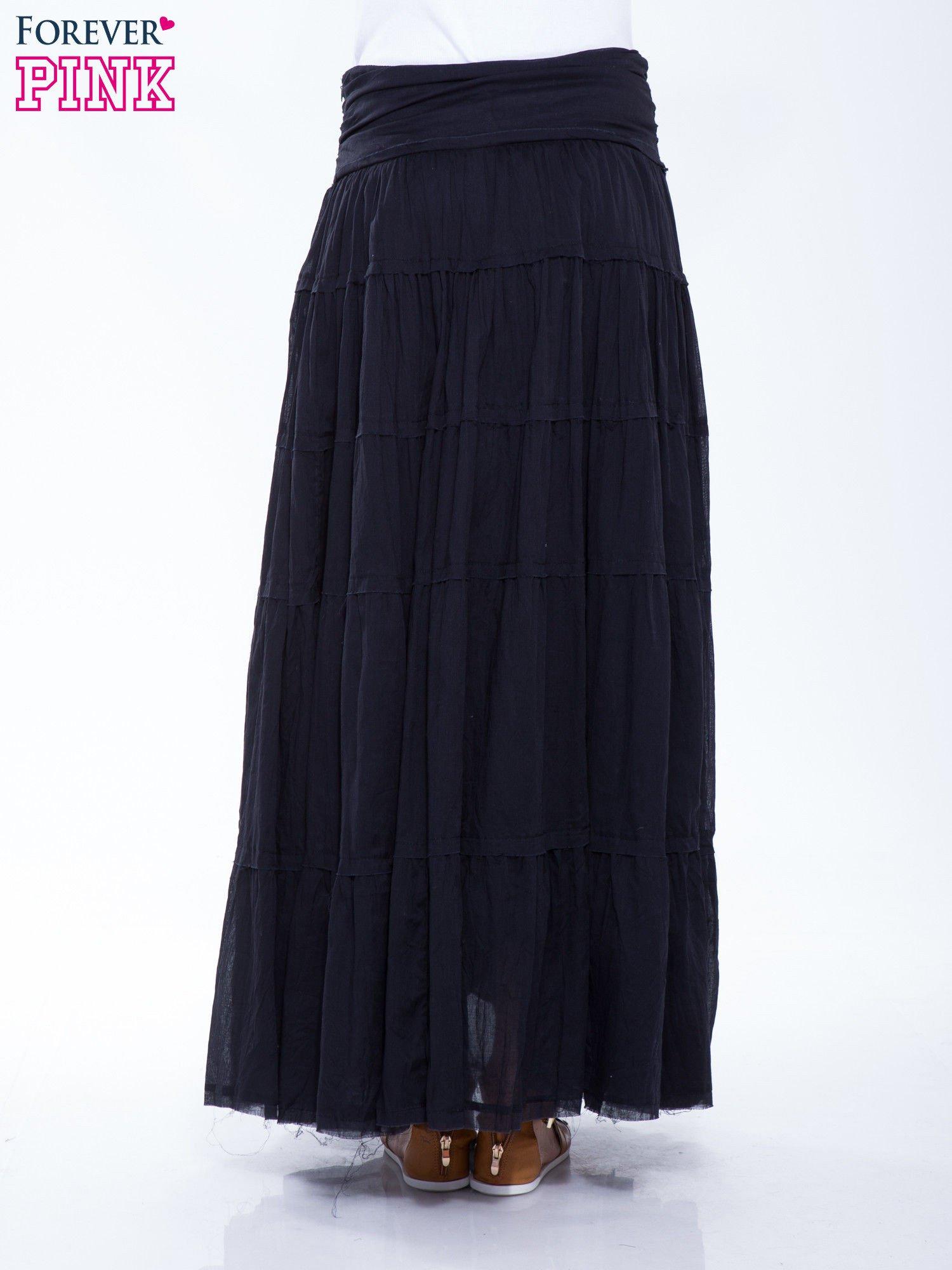 Czarna długa spódnica maxi w stylu boho                                  zdj.                                  4