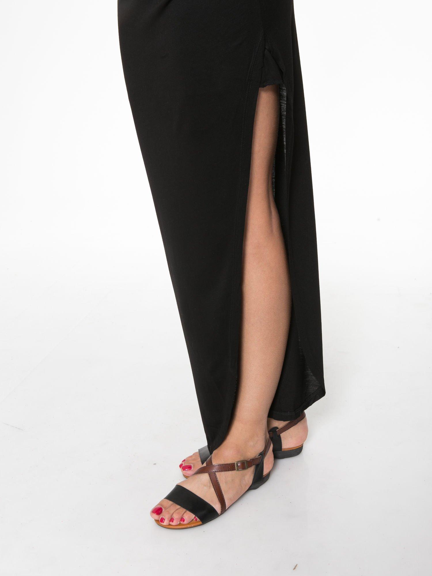 Czarna długa spódnica maxi z rozporkiem z boku                                  zdj.                                  7