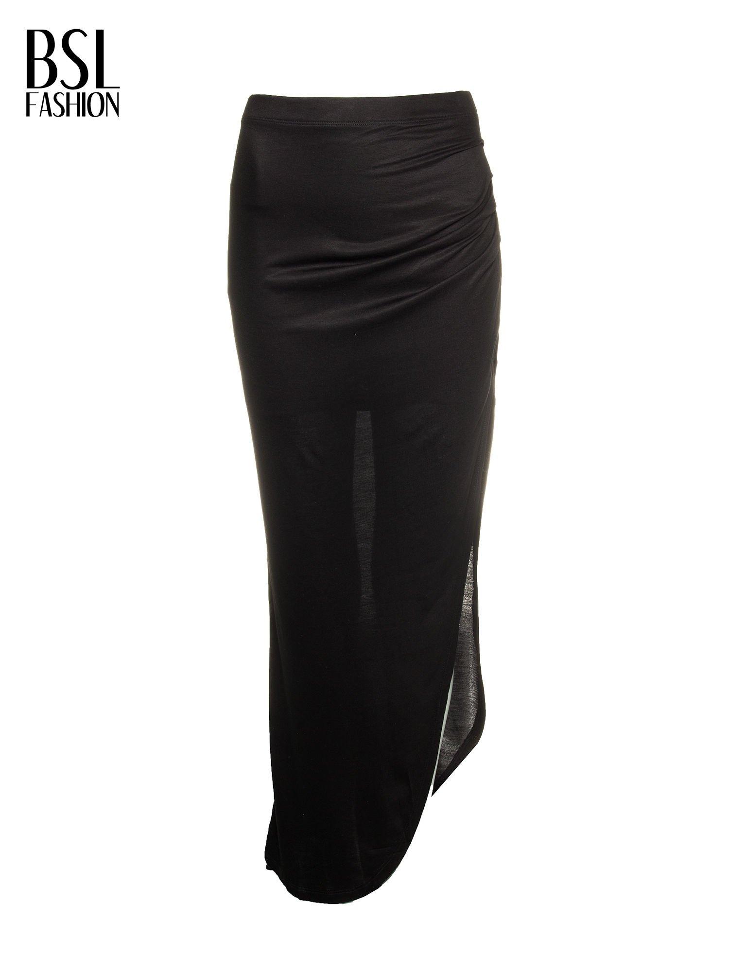 Czarna długa spódnica maxi z rozporkiem z boku                                  zdj.                                  2