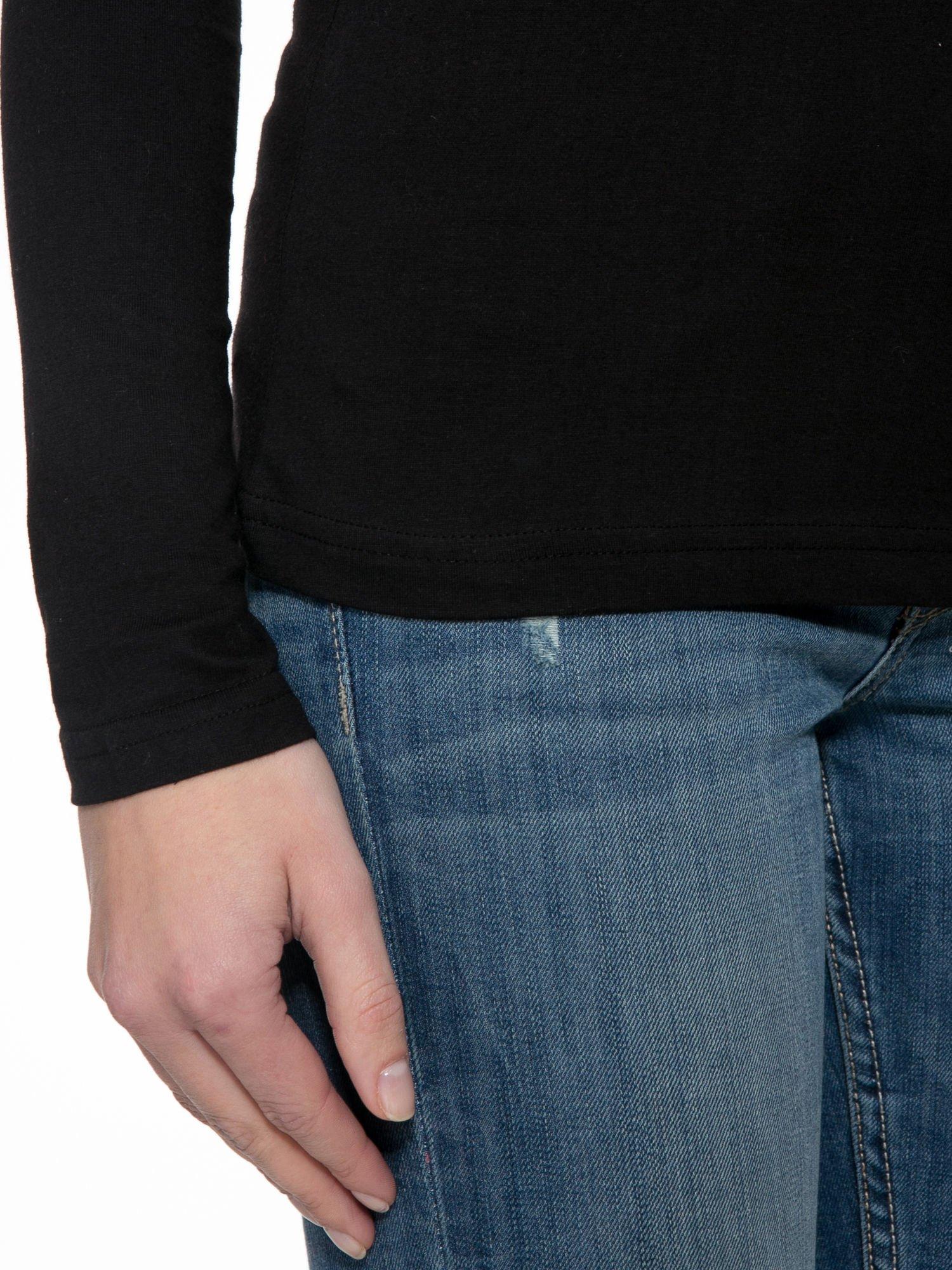 Czarna gładka bluzka z reglanowymi rękawami                                  zdj.                                  6