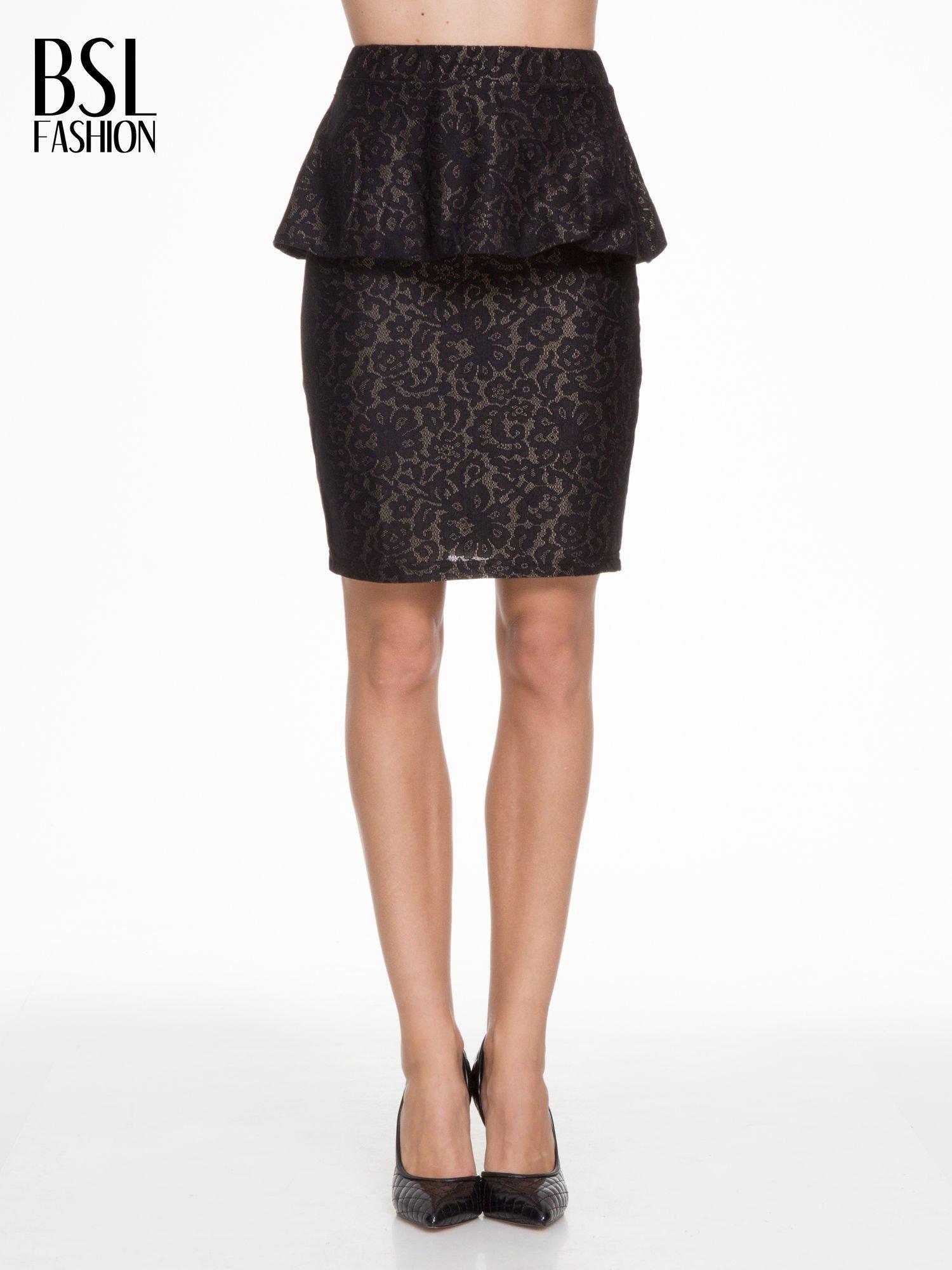 Czarna koronkowa mini spódnica z baskinką                                  zdj.                                  1