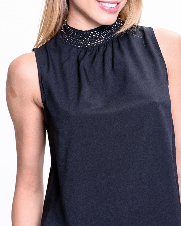 Czarna koszula z biżuteryjnym golfem                                  zdj.                                  6