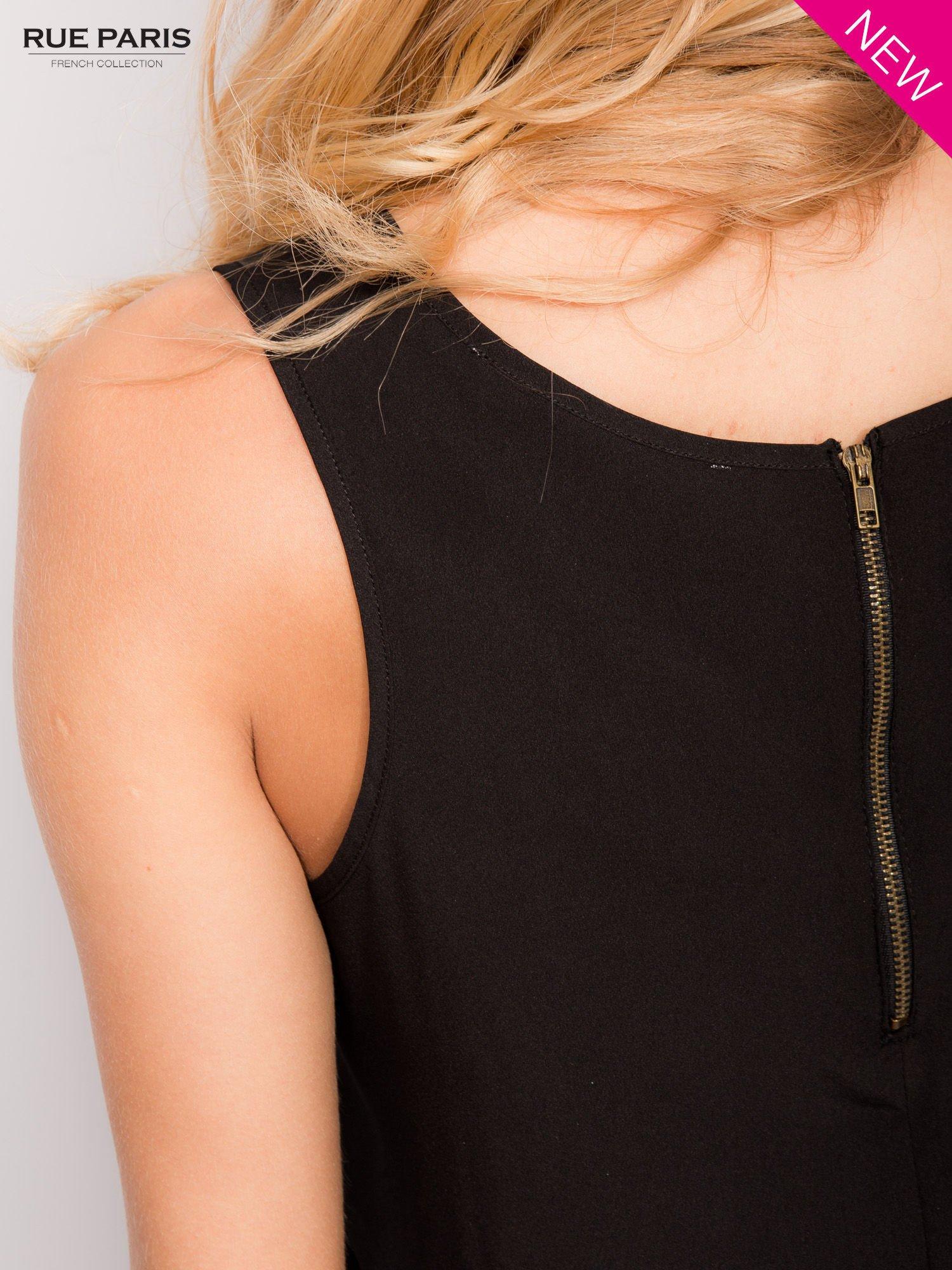 Czarna koszula z łączonych materiałów z suwakiem z tyłu                                  zdj.                                  4