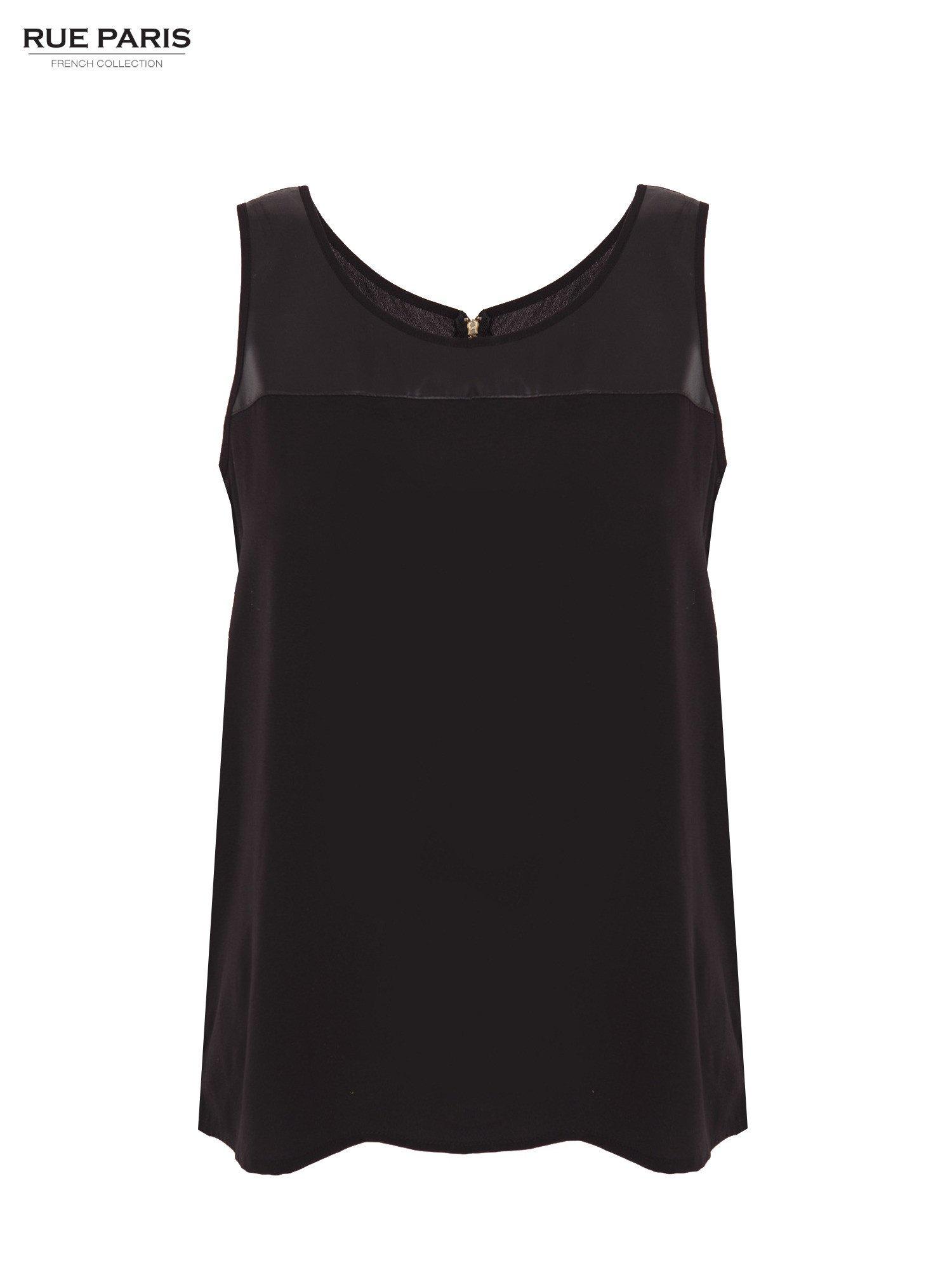 Czarna koszula z łączonych materiałów z suwakiem z tyłu                                  zdj.                                  1