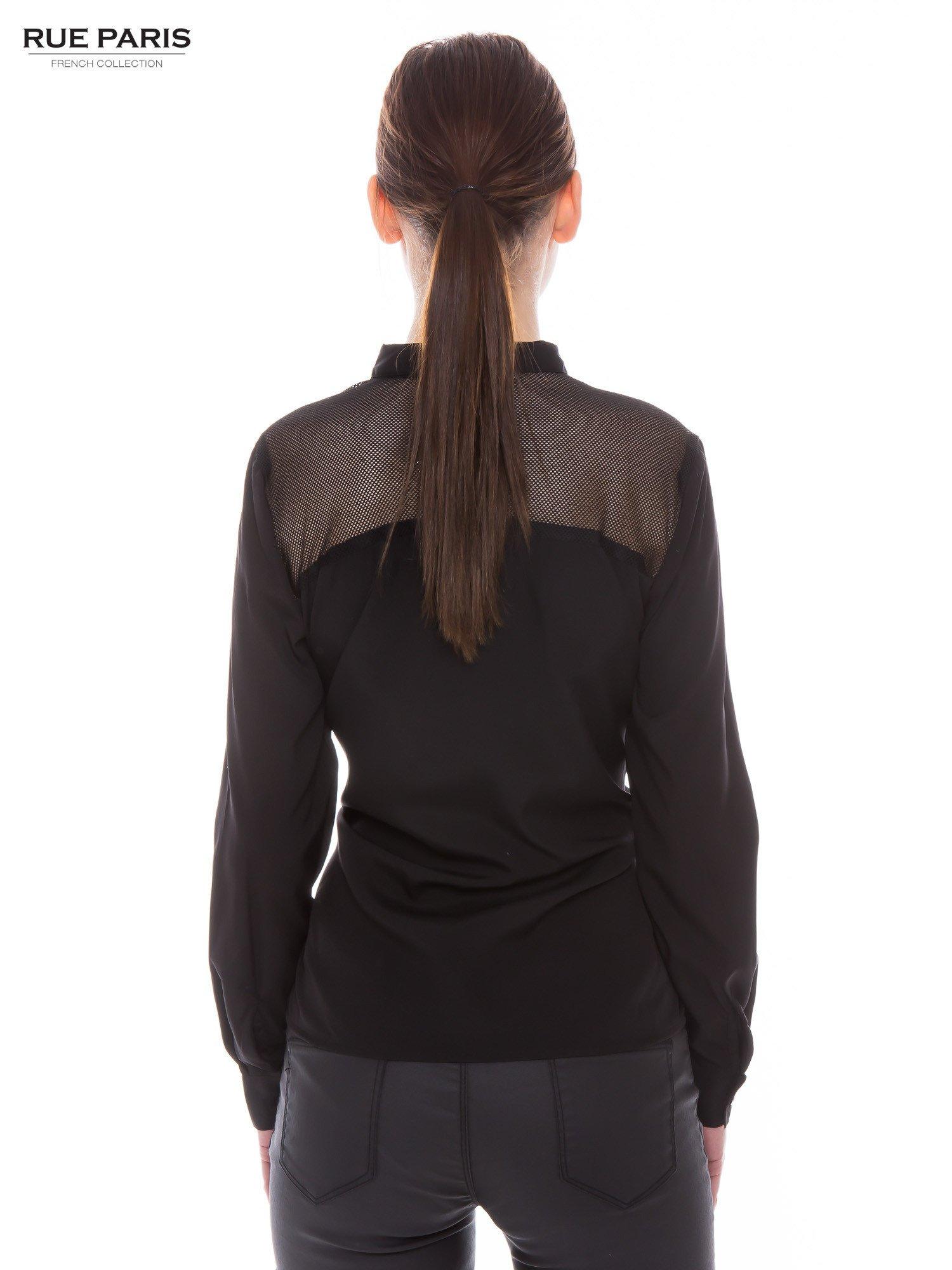 Czarna koszula z siateczkowym tyłem                                  zdj.                                  2