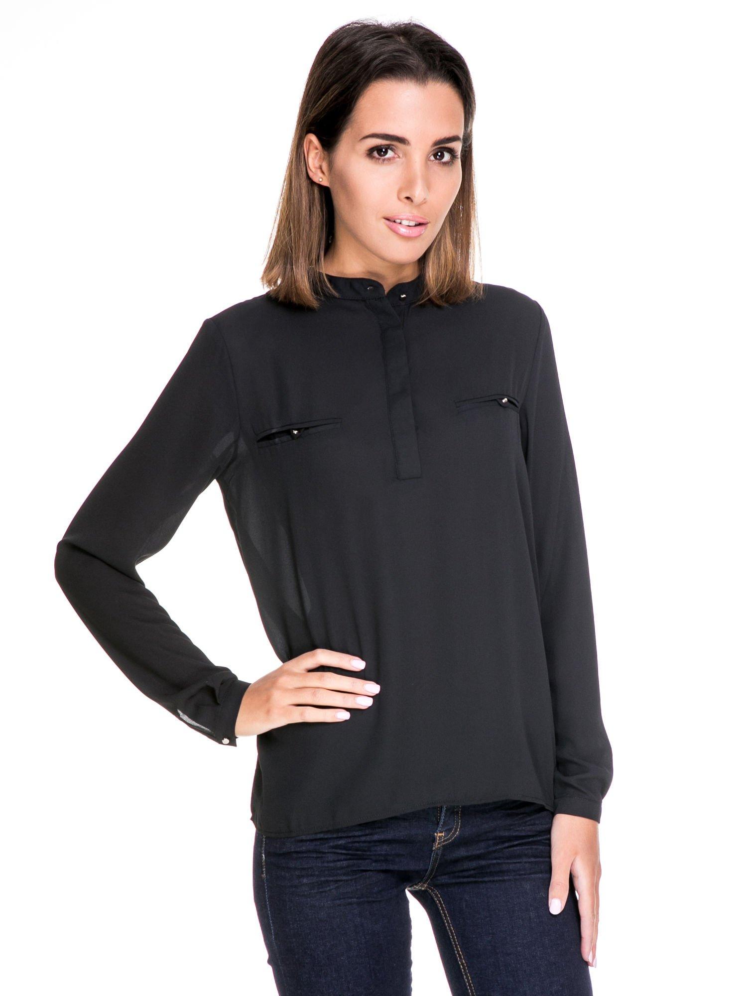 Czarna koszula ze stójką i kieszonkami na guziczki                                  zdj.                                  1