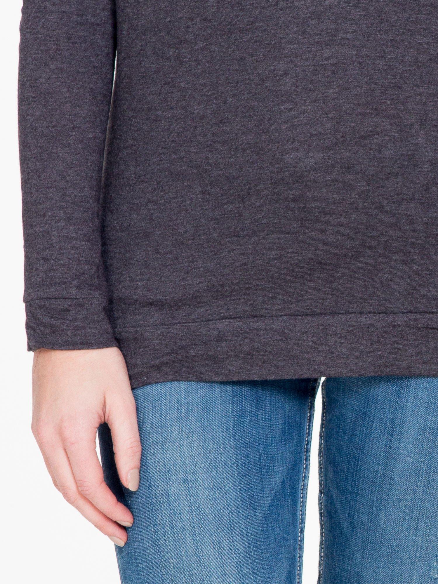 Czarna melanżowa bawełniana bluzka z rękawami typu reglan                                  zdj.                                  6