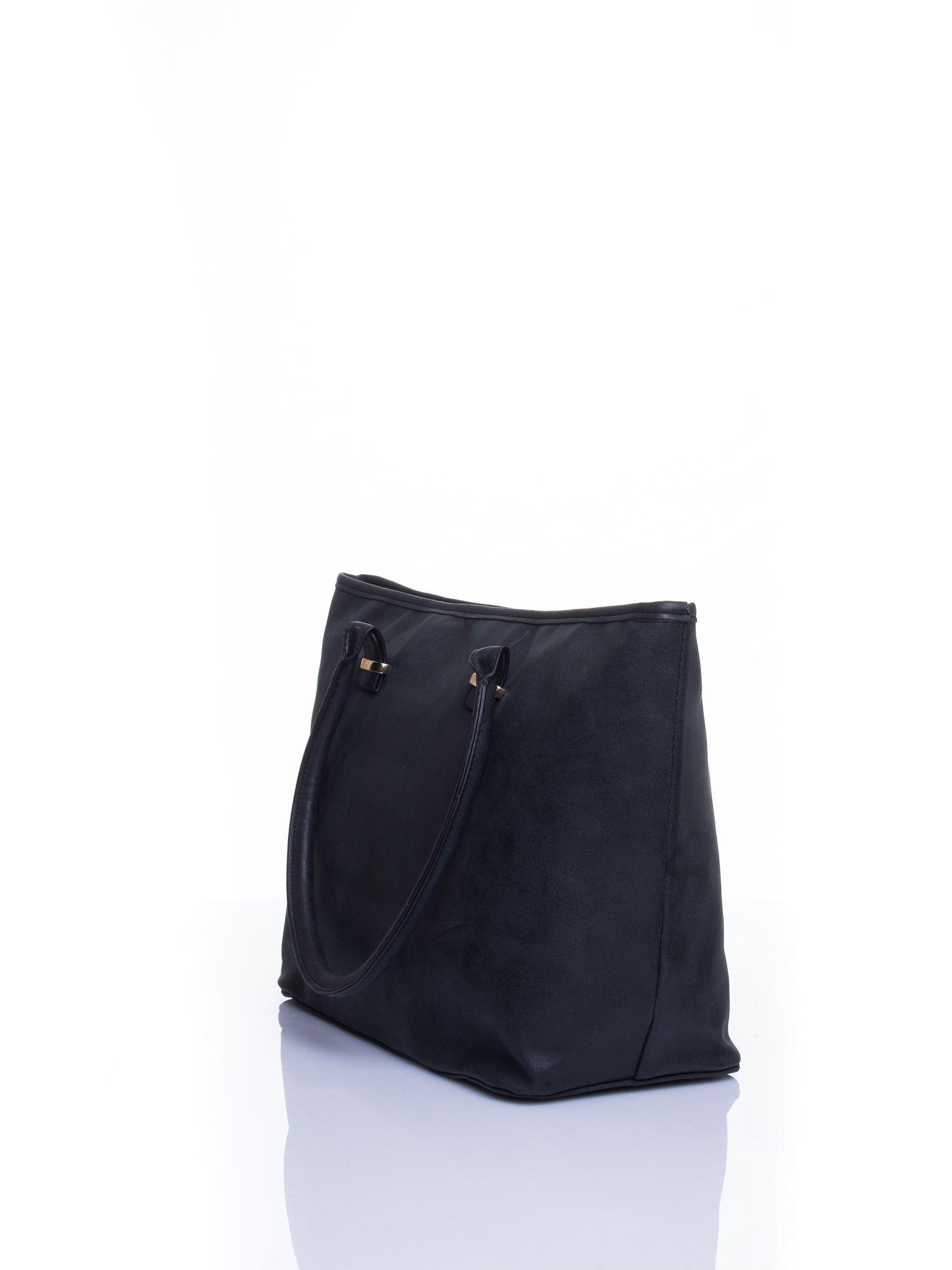 Czarna miękka torba shopper bag                                  zdj.                                  4