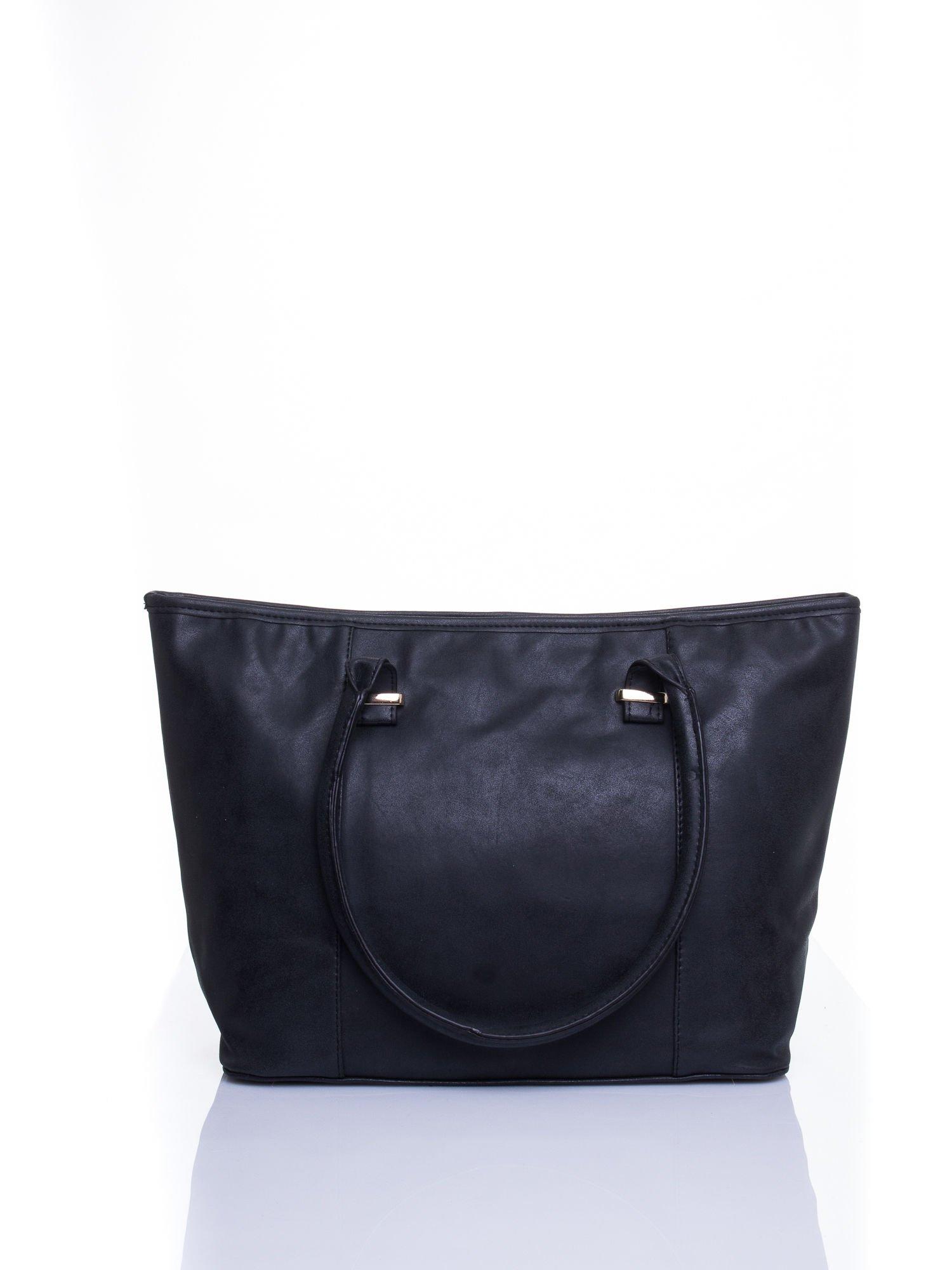 Czarna miękka torba shopper bag                                  zdj.                                  3