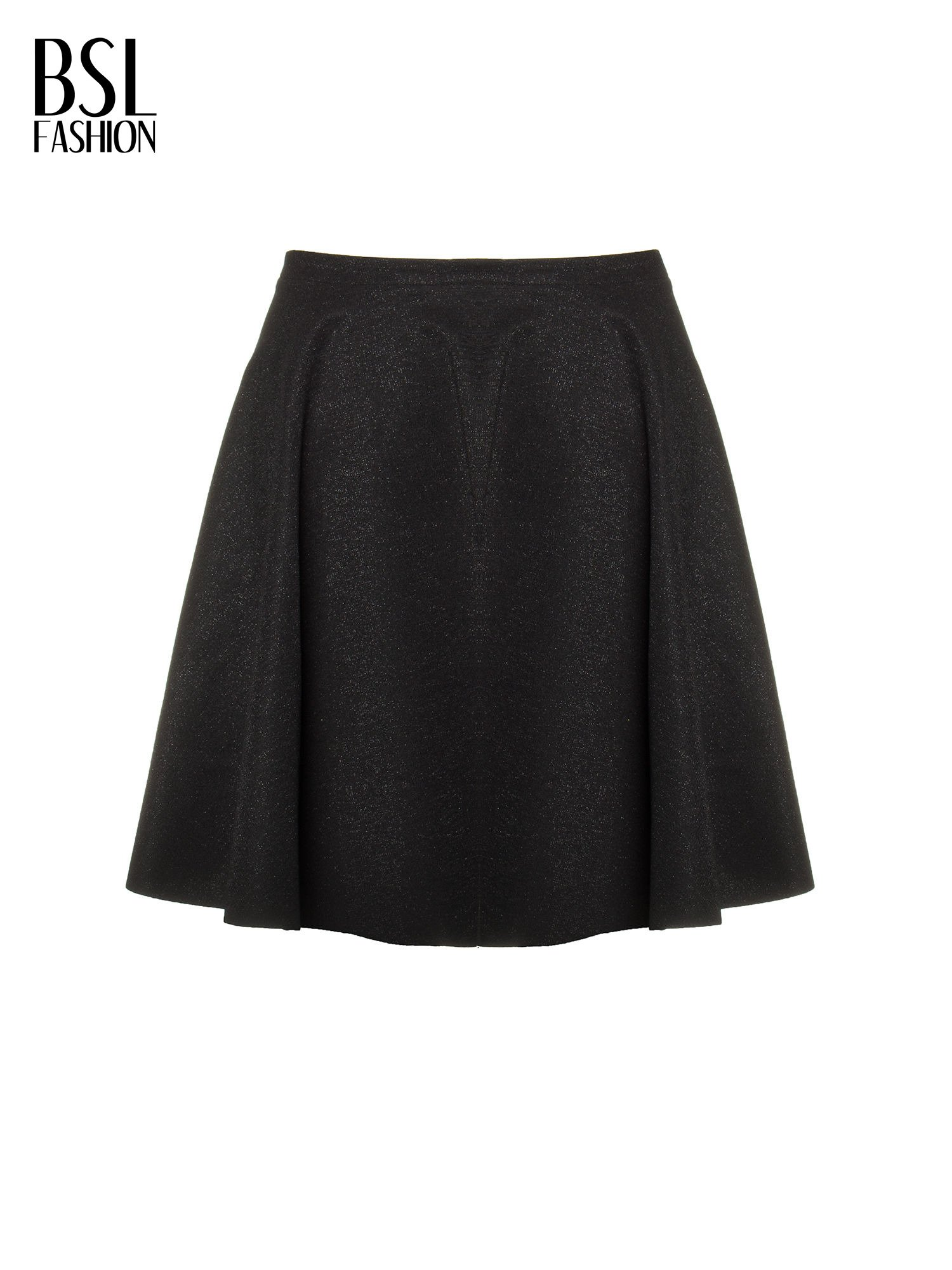 Czarna mini spódniczka przeplatana błyszczącą nicią                                  zdj.                                  5