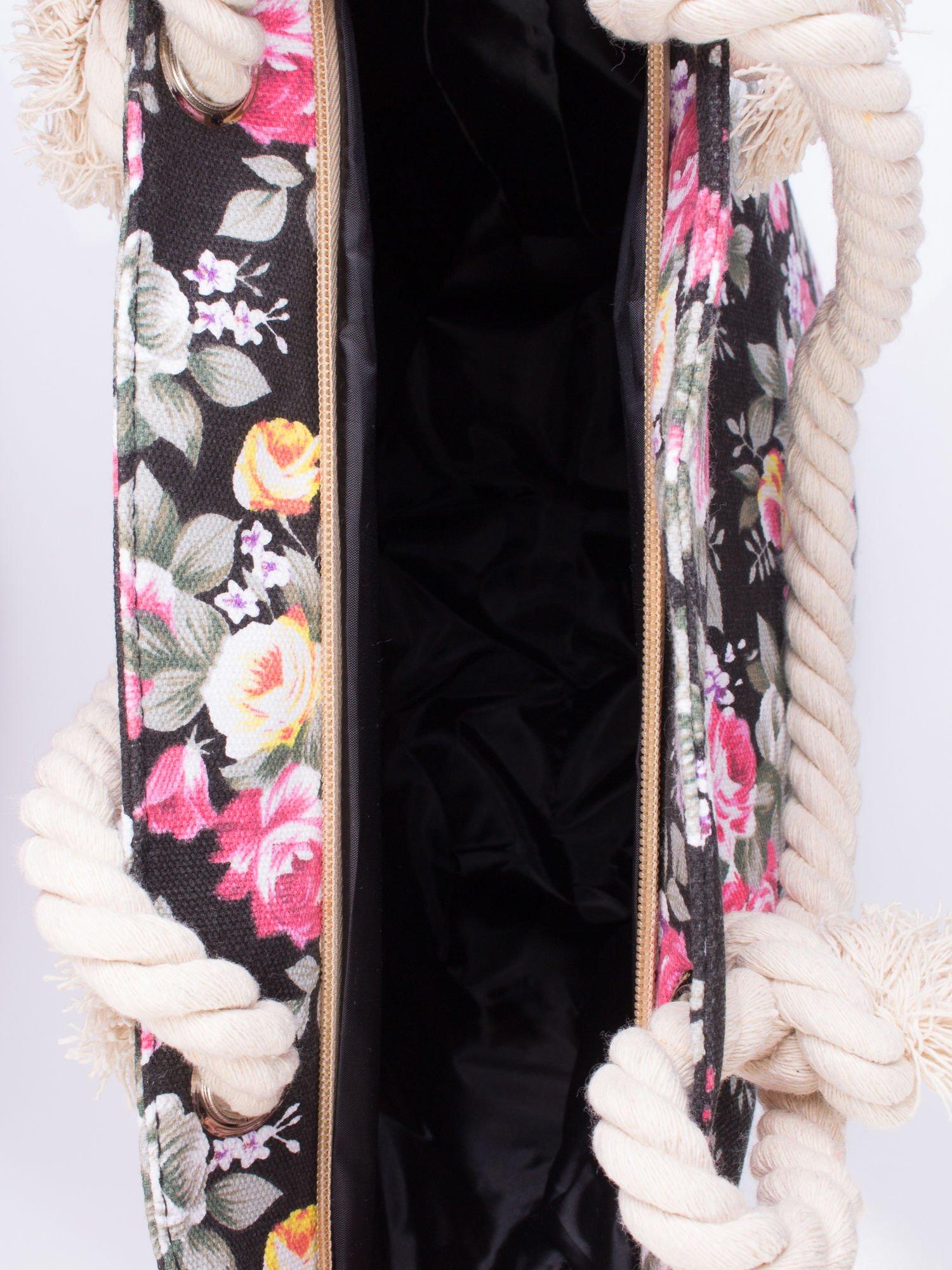 Czarna plażowa torba w kwiaty na sznurku                                  zdj.                                  3