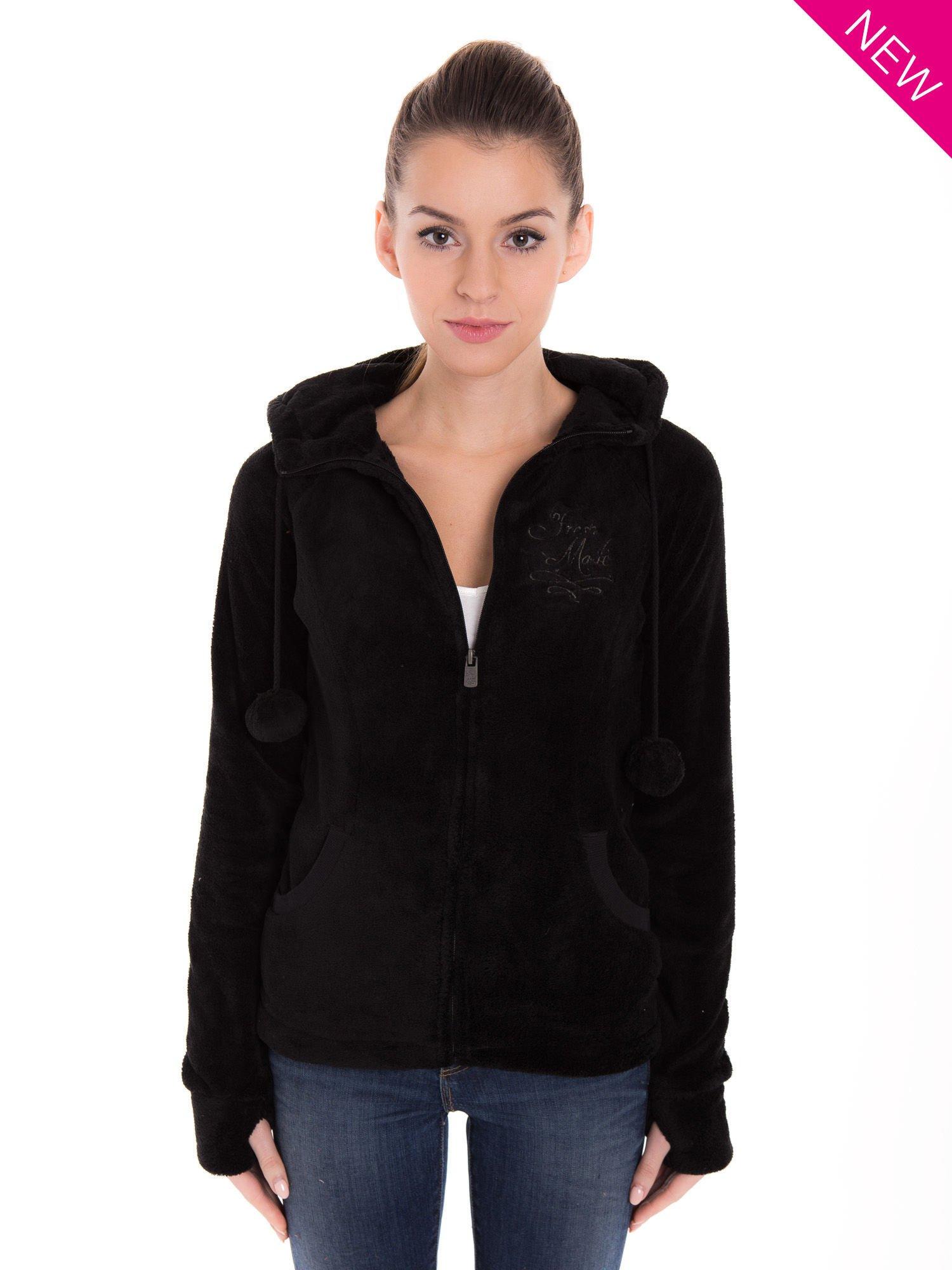 Czarna pluszowa bluza z kapturem z uszkami i pomponami                                  zdj.                                  1