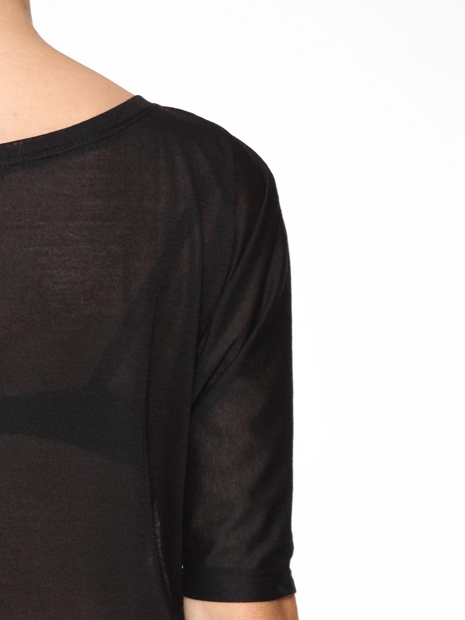 Czarna półtransparentna bluzka z łódkowym dekoltem i rękawami 3/4                                  zdj.                                  10