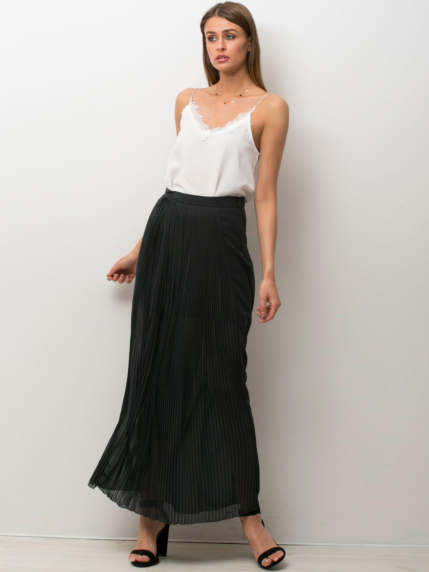 Czarna półtransparentna spódnica maxi plisowana                                  zdj.                                  1
