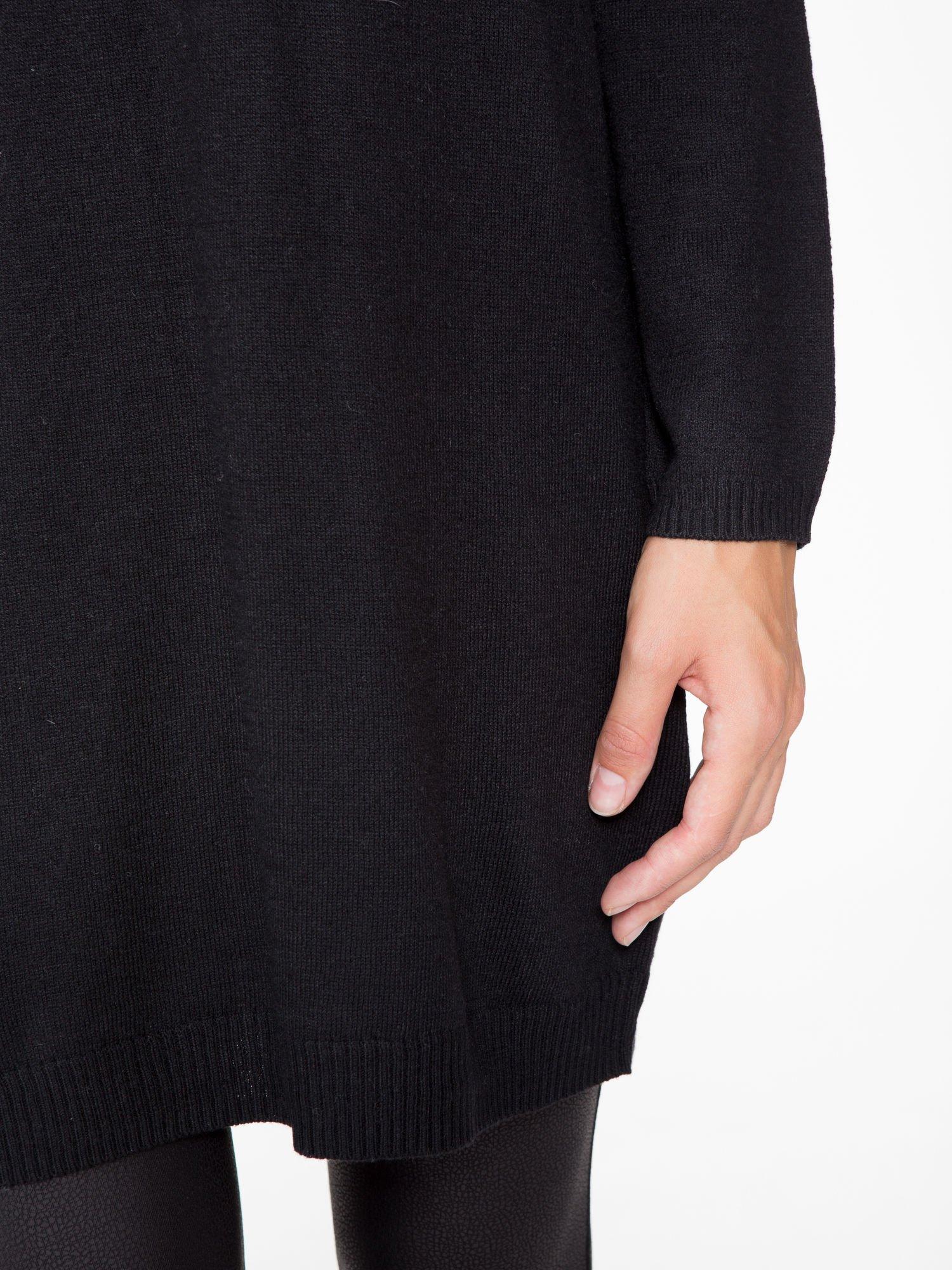 Czarna prosta dzianinowa sukienka                                  zdj.                                  6