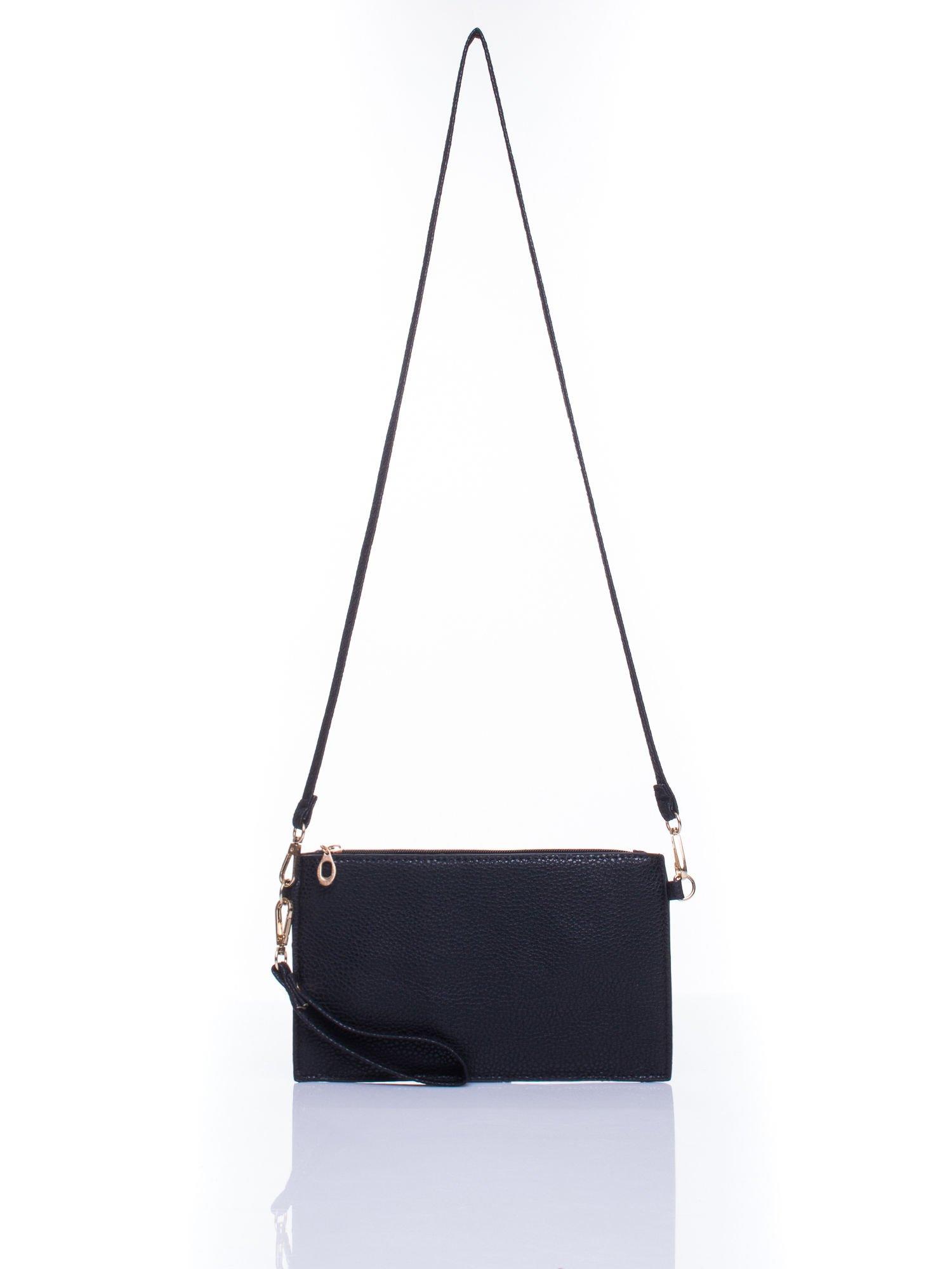Czarna prosta przewieszana torebka z uchwytem                                  zdj.                                  4