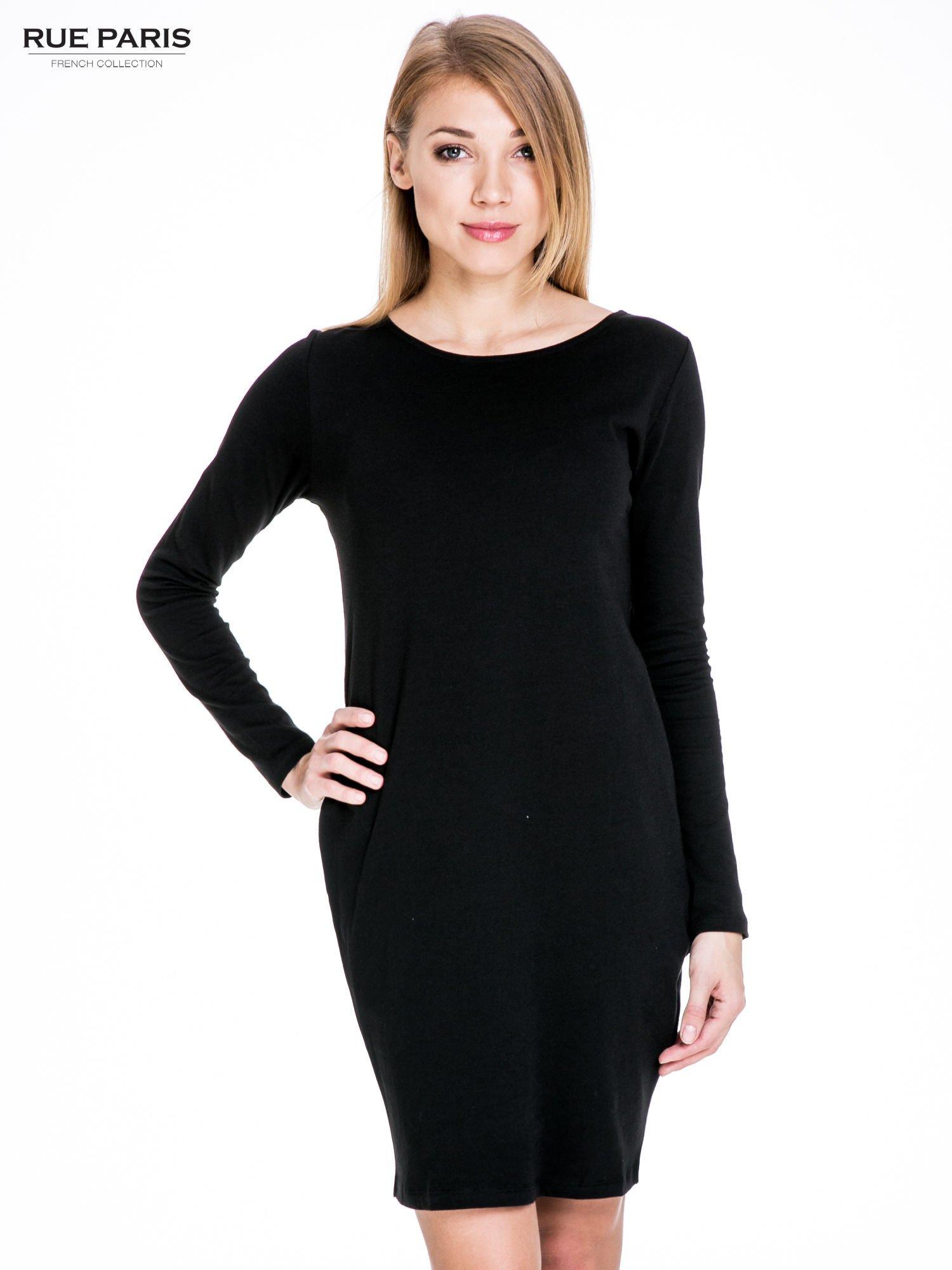 Czarna prosta sukienka z kieszeniami                                  zdj.                                  1