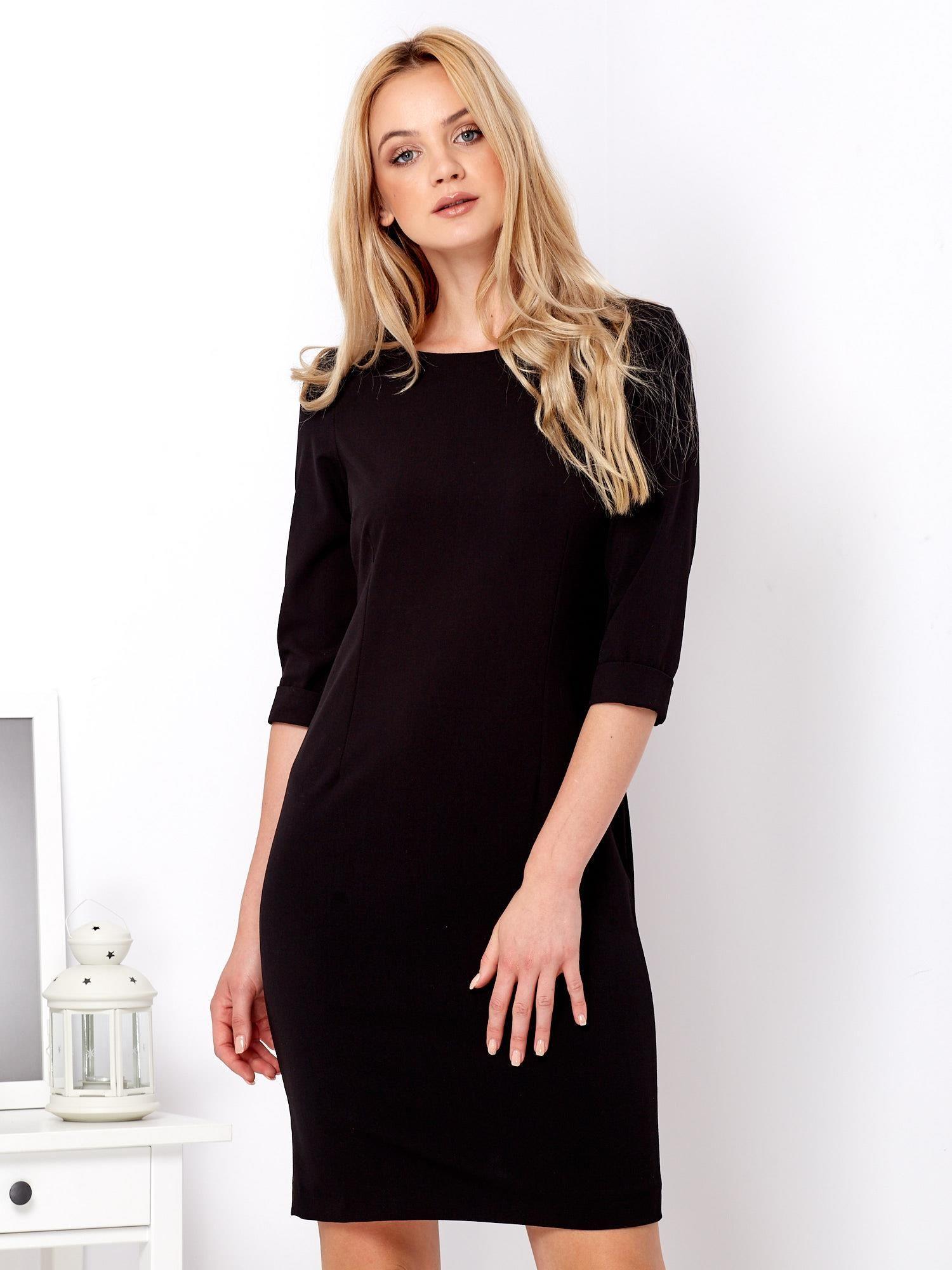 a9fd7c49e2f1ad Czarna prosta sukienka z podwijanymi rękawami - Sukienka koktajlowa ...