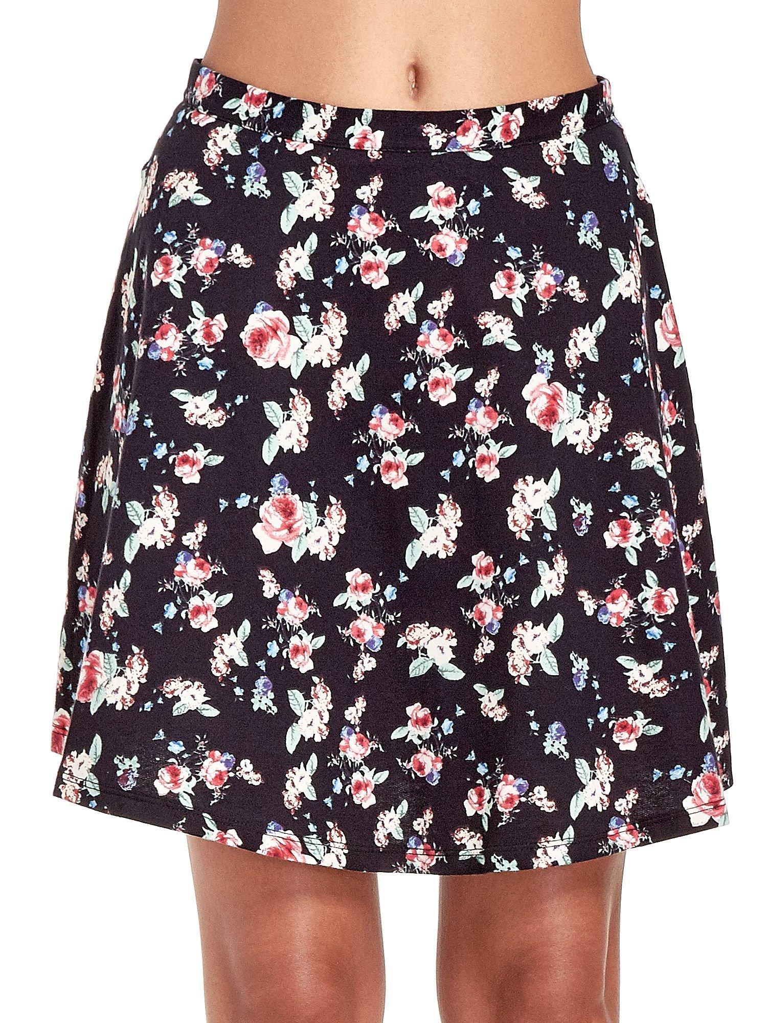 Czarna rozkloszowna mini spódniczka w łączkę                                  zdj.                                  5