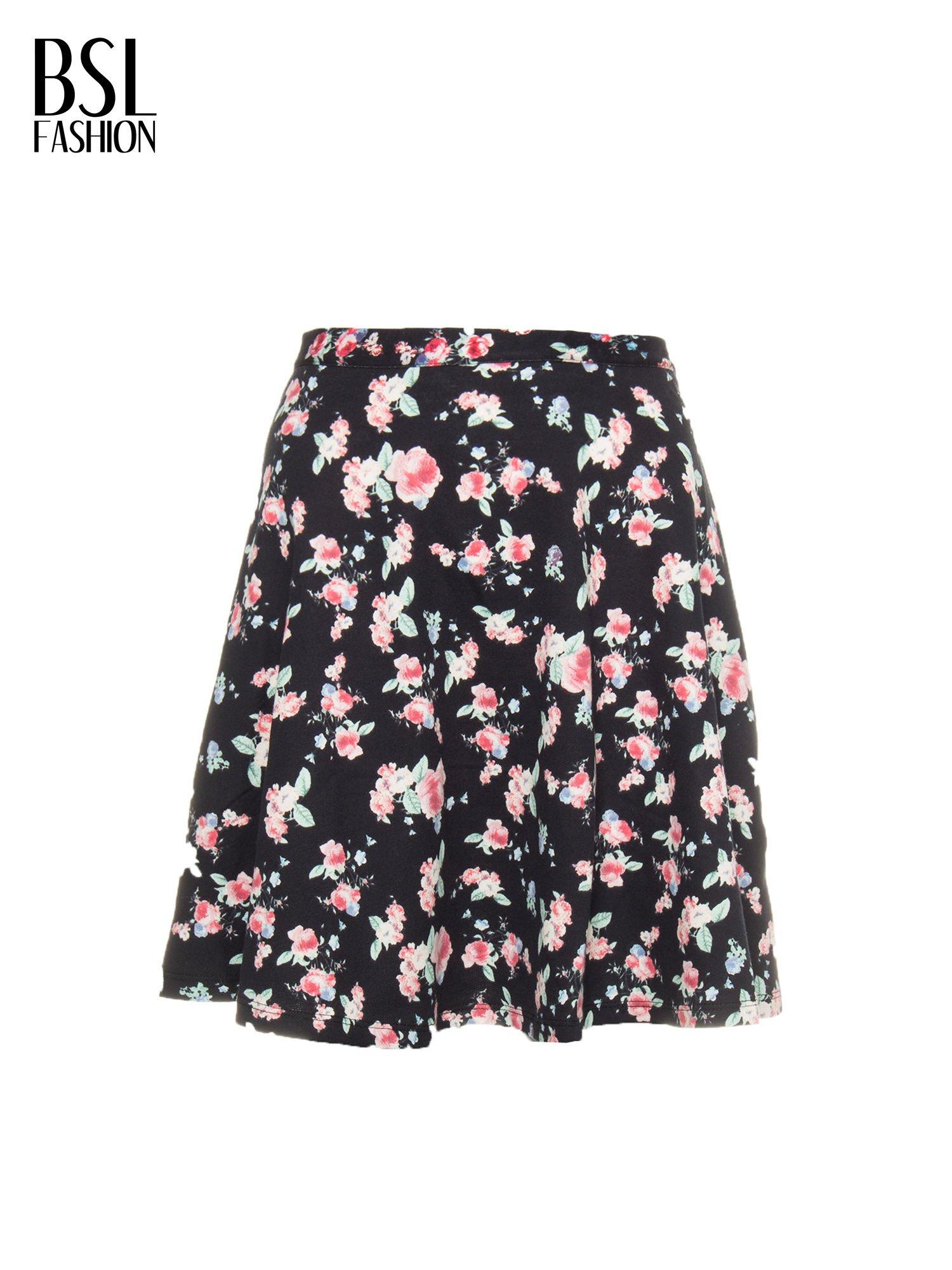 Czarna rozkloszowna mini spódniczka w łączkę                                  zdj.                                  9