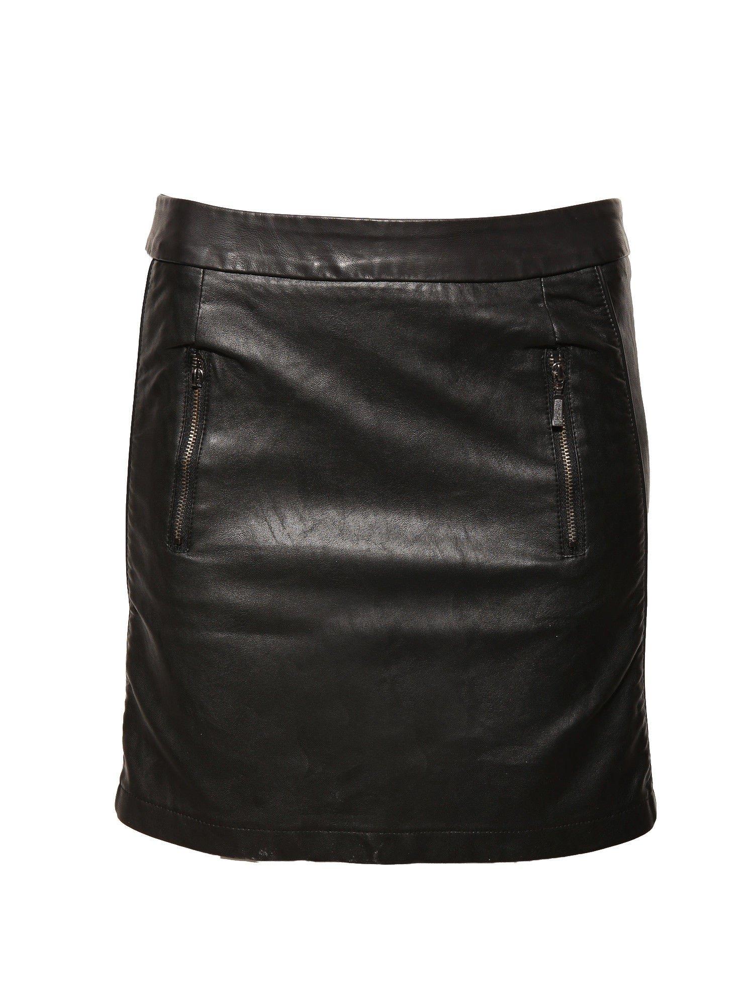 Czarna skórzana spódnica mini z kieszeniami                                  zdj.                                  1