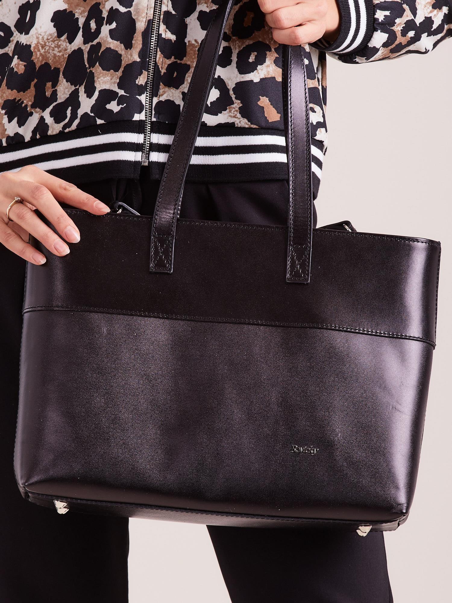 b6acc12ac9ded Czarna skórzana torba shopper bag - Akcesoria torba - sklep eButik.pl