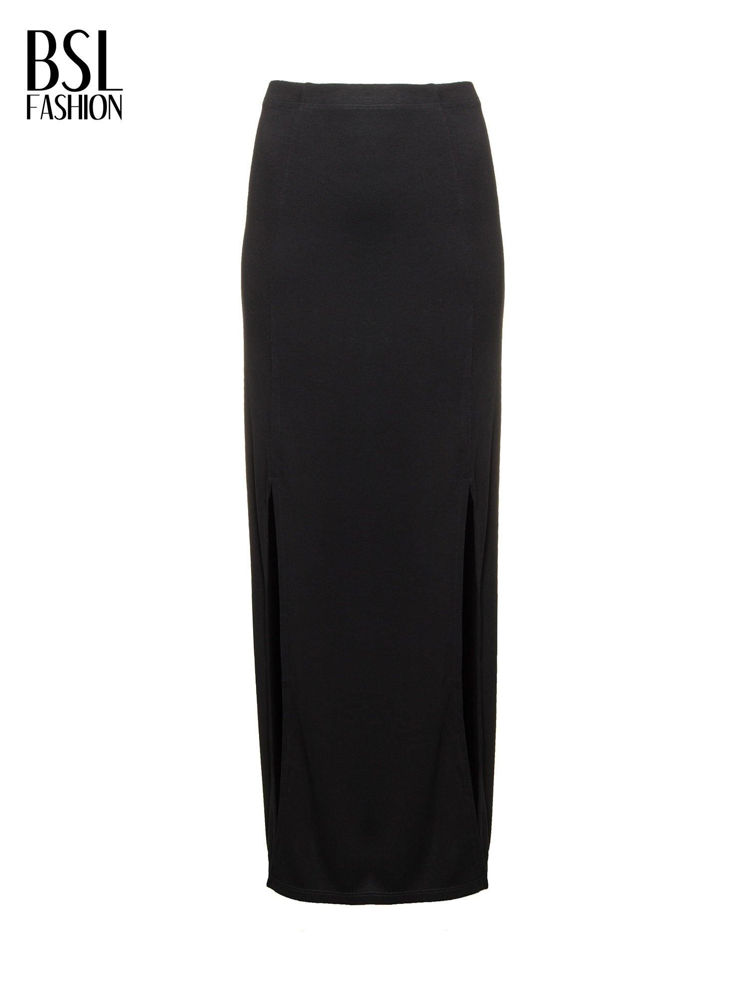 Czarna spódnica maxi z rozporkami                                  zdj.                                  2