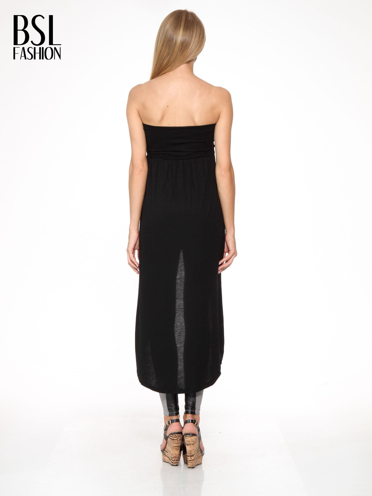 Czarna sukienka bez ramiączek z dłuższym tyłem                                  zdj.                                  6