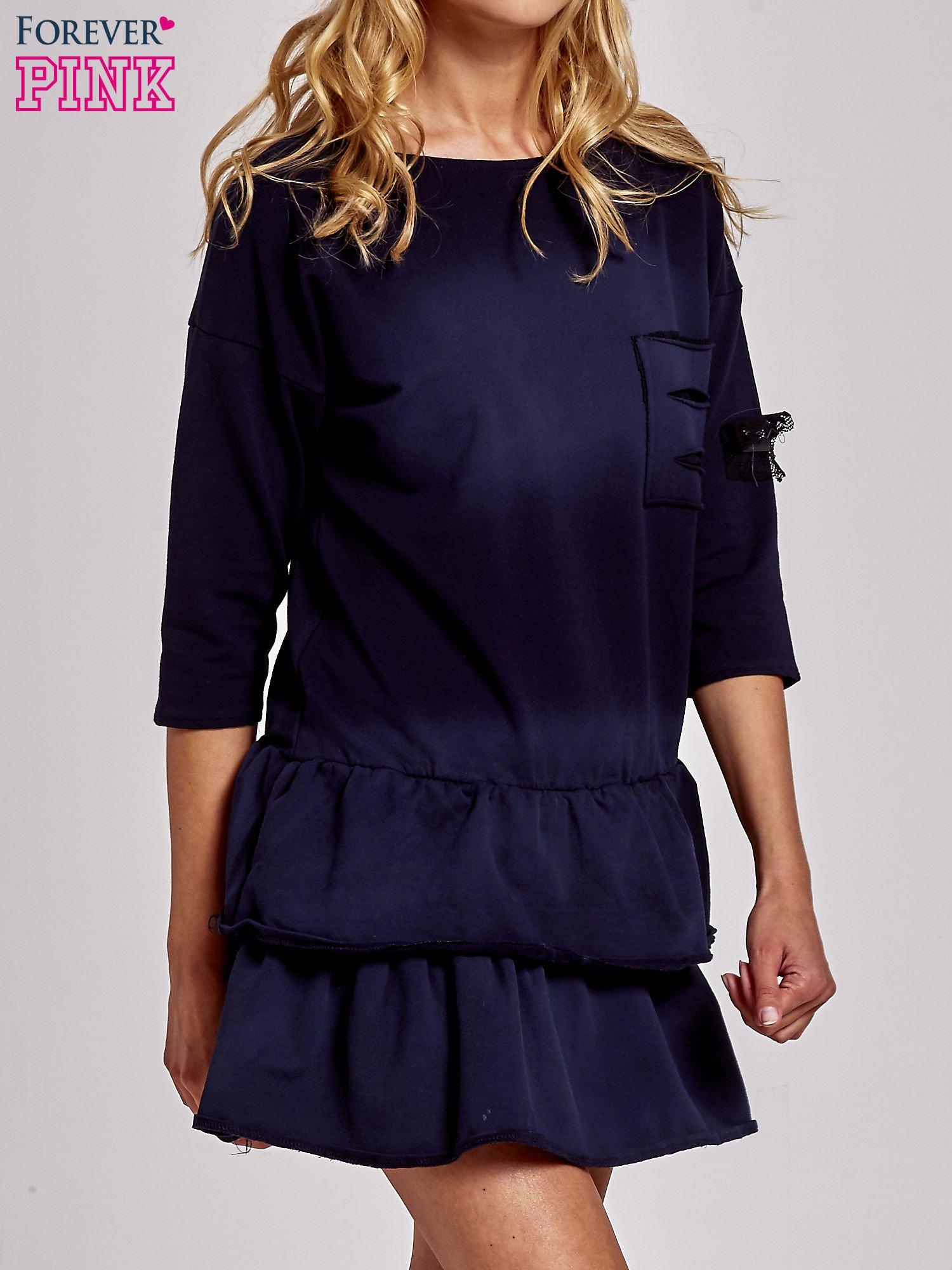 Czarna sukienka dresowa ombre z podwójną falbaną                                  zdj.                                  1