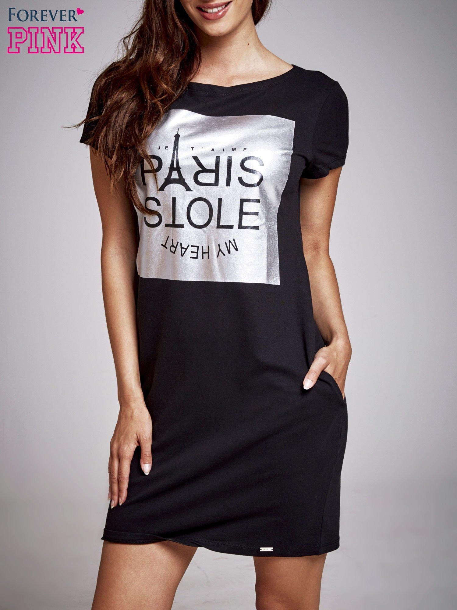 Czarna sukienka dresowa ze srebrnym printem PARIS                                  zdj.                                  1