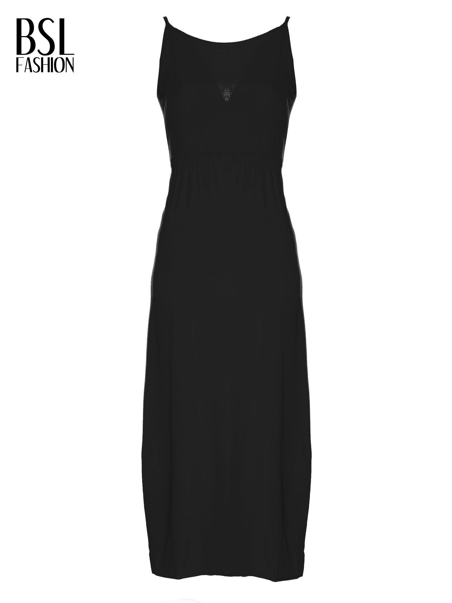 Czarna sukienka maxi na ramiączkach z koronkowym tyłem                                  zdj.                                  5