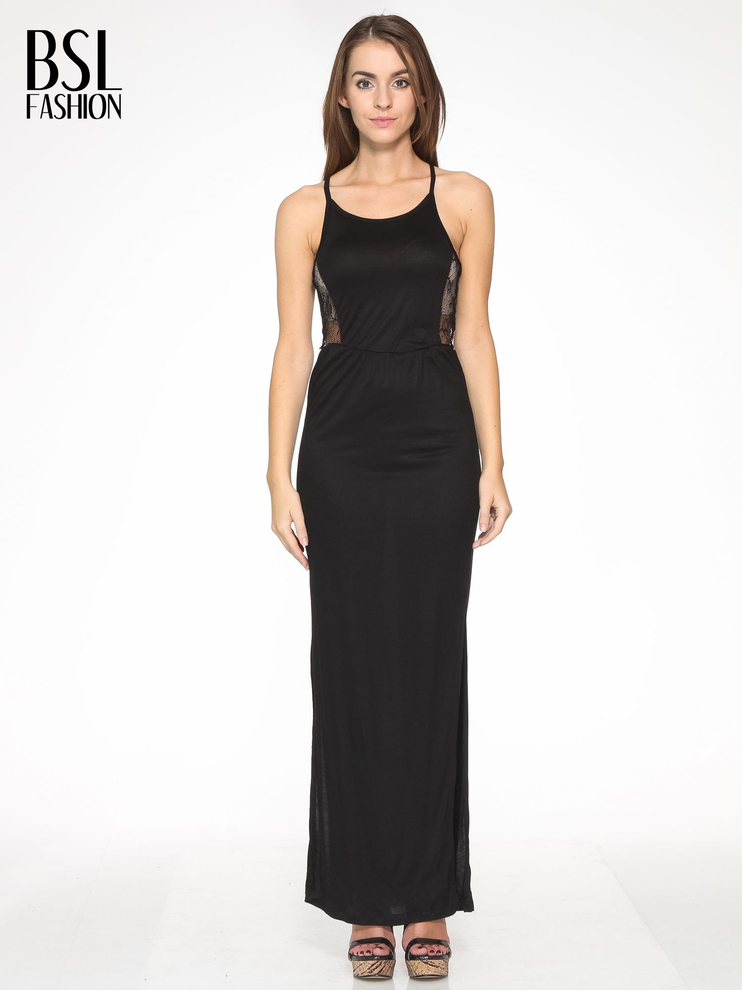 Czarna sukienka maxi na ramiączkach z koronkowym tyłem                                  zdj.                                  1