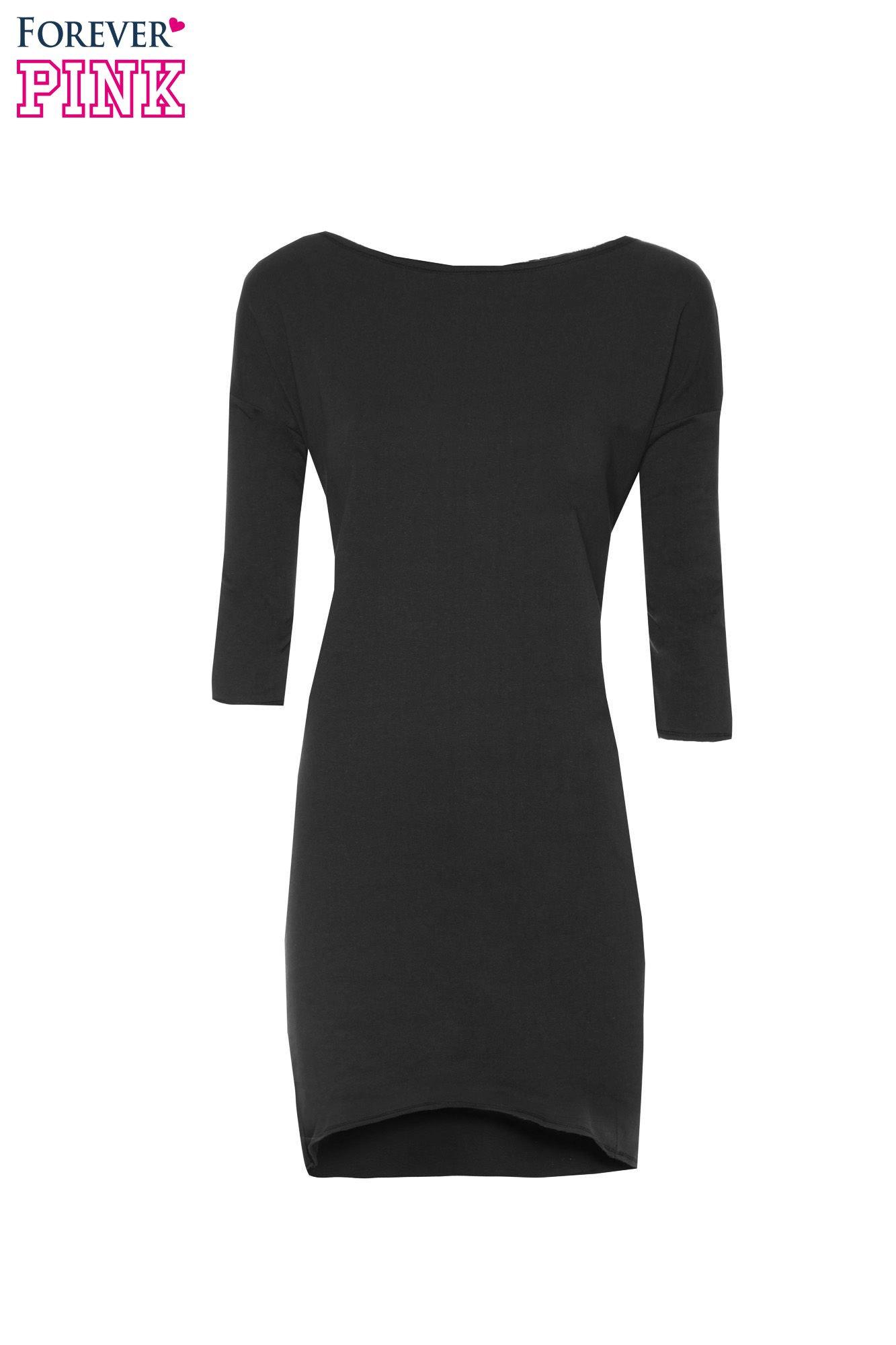 Czarna sukienka oversize z surowym wykończeniem                                  zdj.                                  5