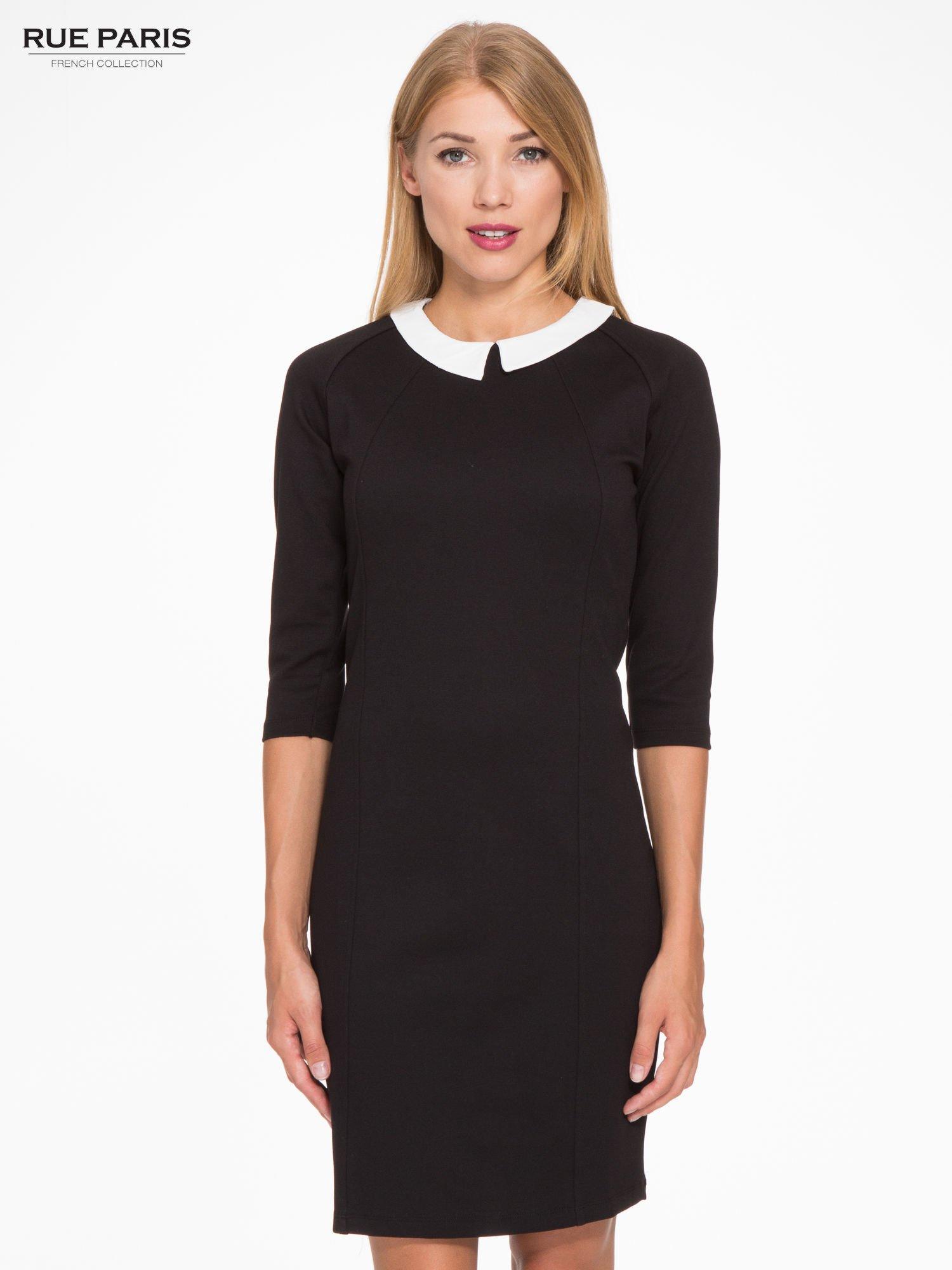 5716972f49 Czarna sukienka pensjonarka z białym kołnierzykiem - Sukienka na co dzień -  sklep eButik.pl