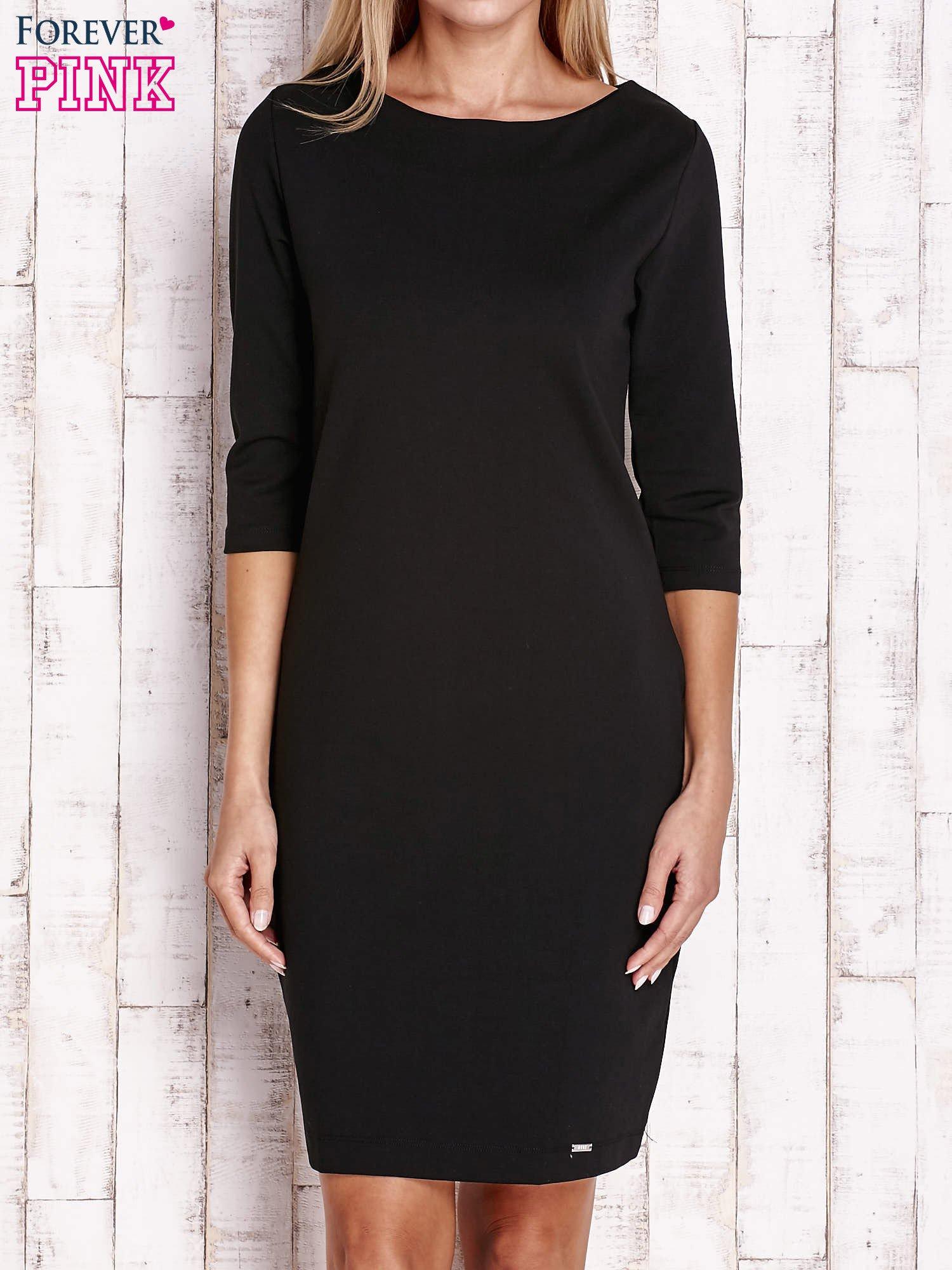 Czarna sukienka z dekoltem w łódkę                                  zdj.                                  1