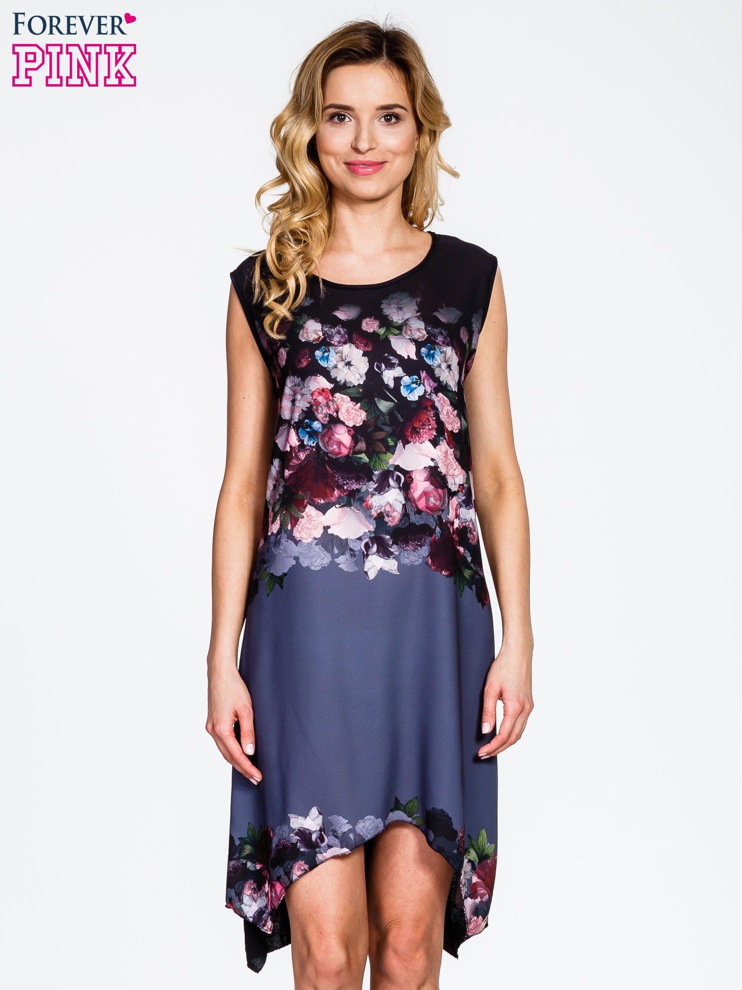 Czarna sukienka z kwiatowym nadrukiem i asymetrycznym dołem                                  zdj.                                  1