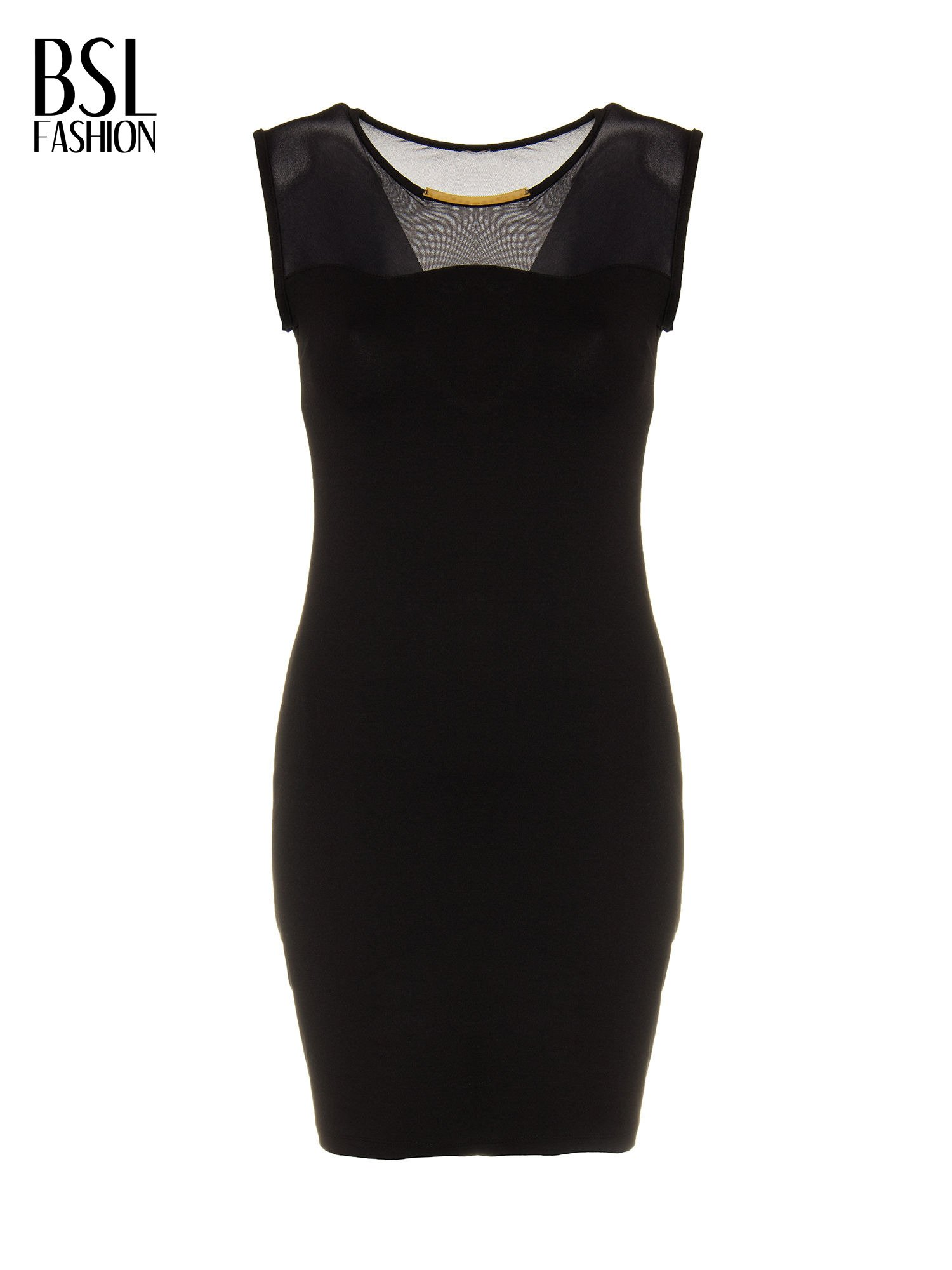 Czarna sukienka z siateczkowymi wstawkami na dekolcie i plecach                                  zdj.                                  2