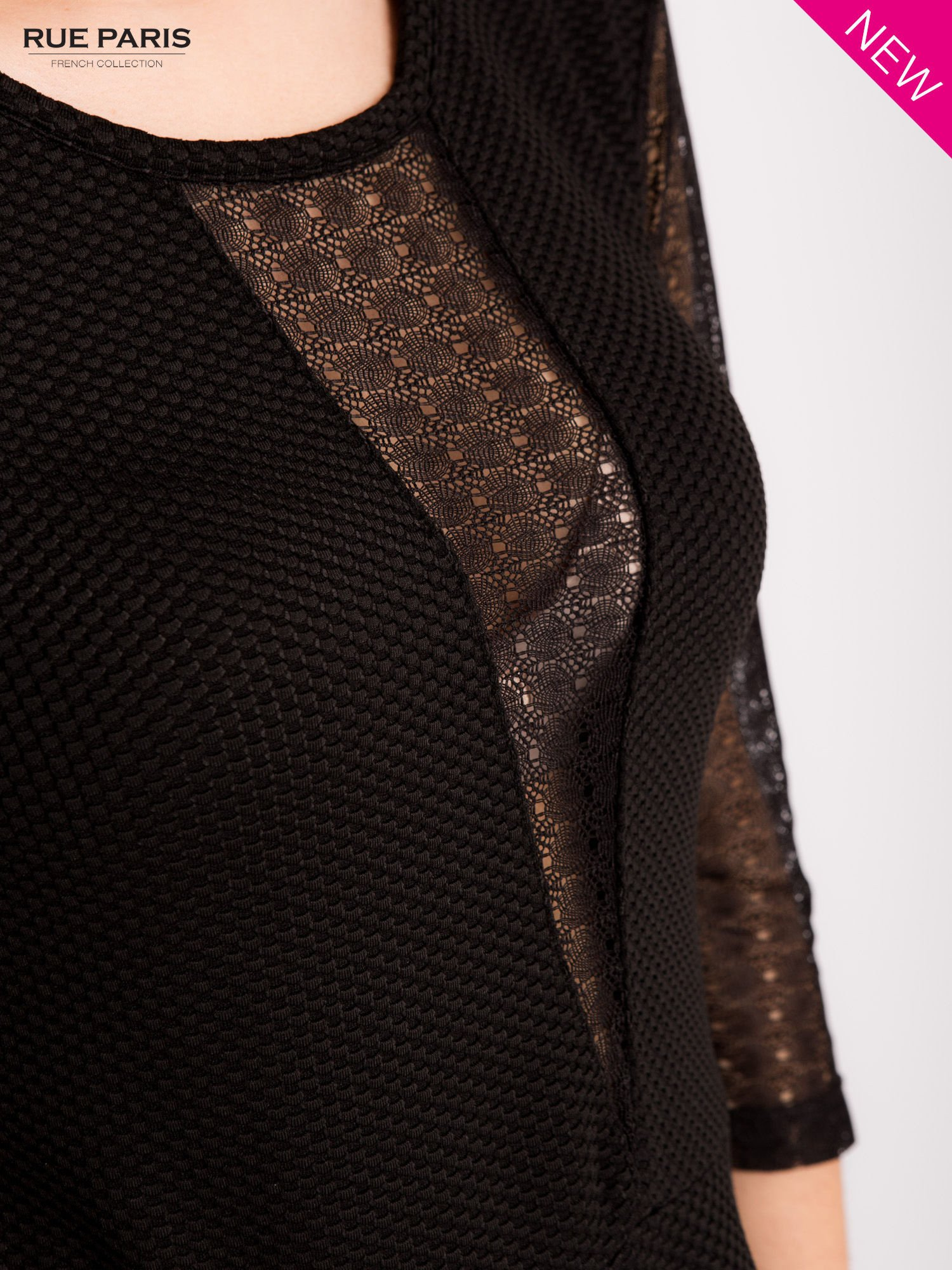 Czarna sukienka z transparentnym głębokim dekoltem                                  zdj.                                  8