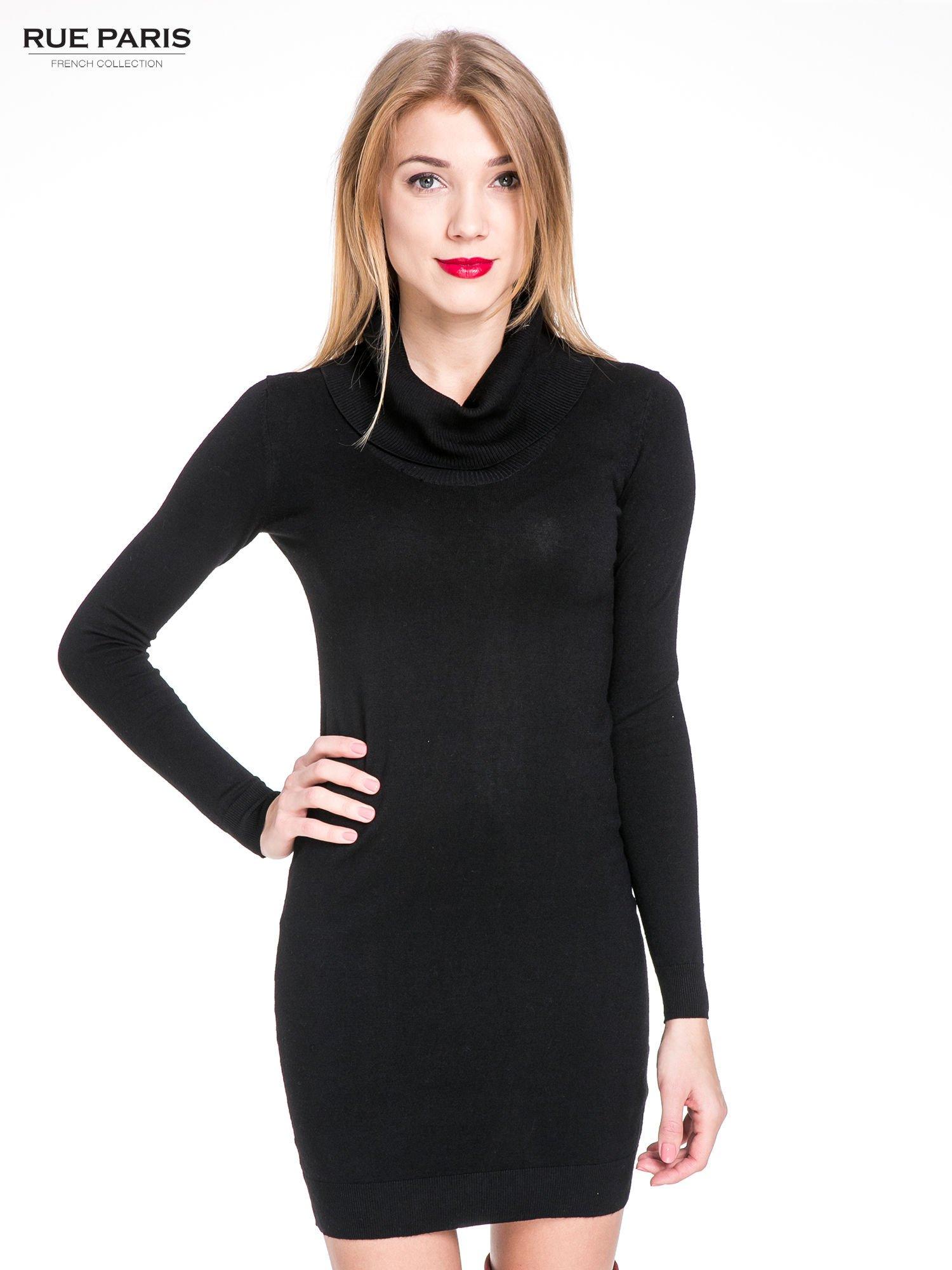 Czarna swetrowa sukienka z golfem                                  zdj.                                  2