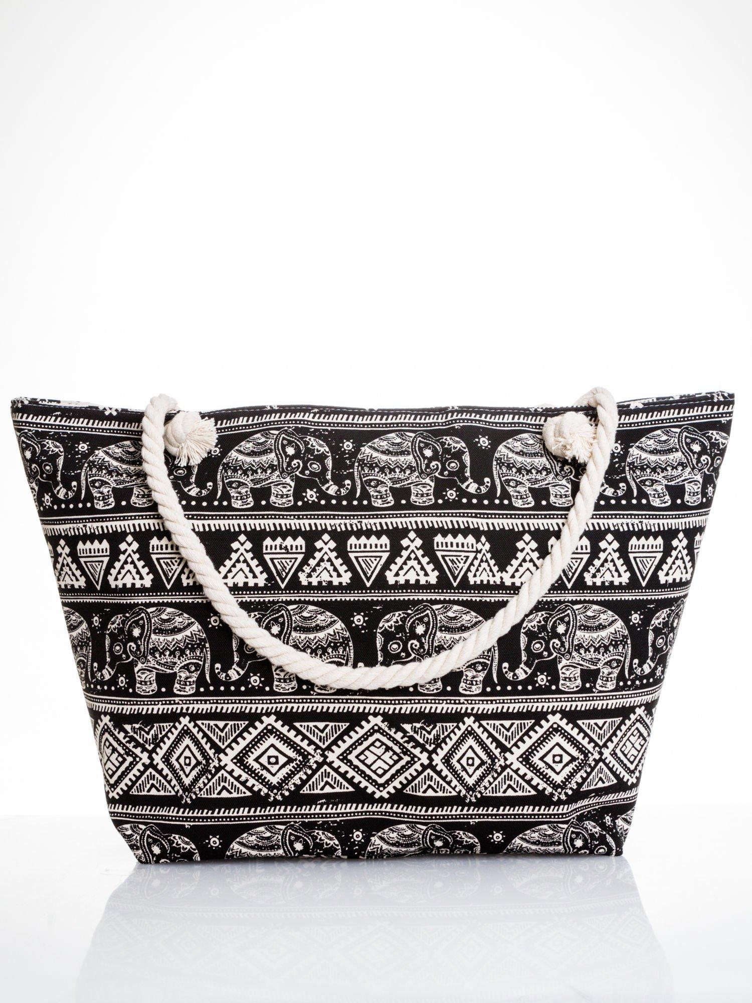 e717ad9158b99 Czarna torba plażowa w indyjskie wzory - Akcesoria torba - sklep ...