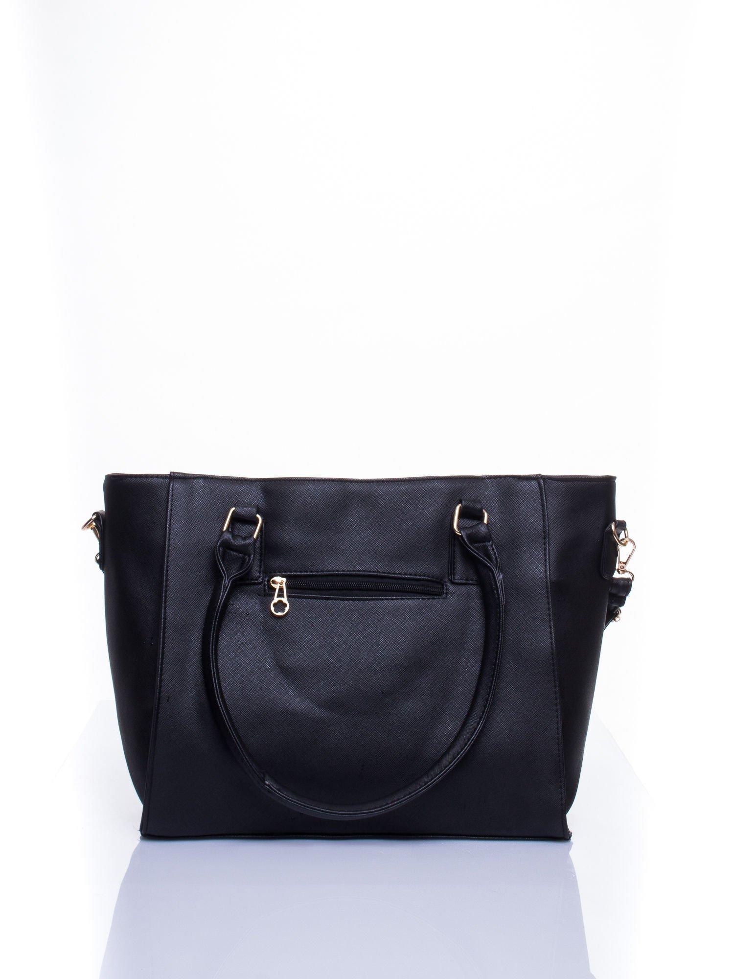 Czarna torba shopper bag z odpinanym paskiem                                  zdj.                                  4