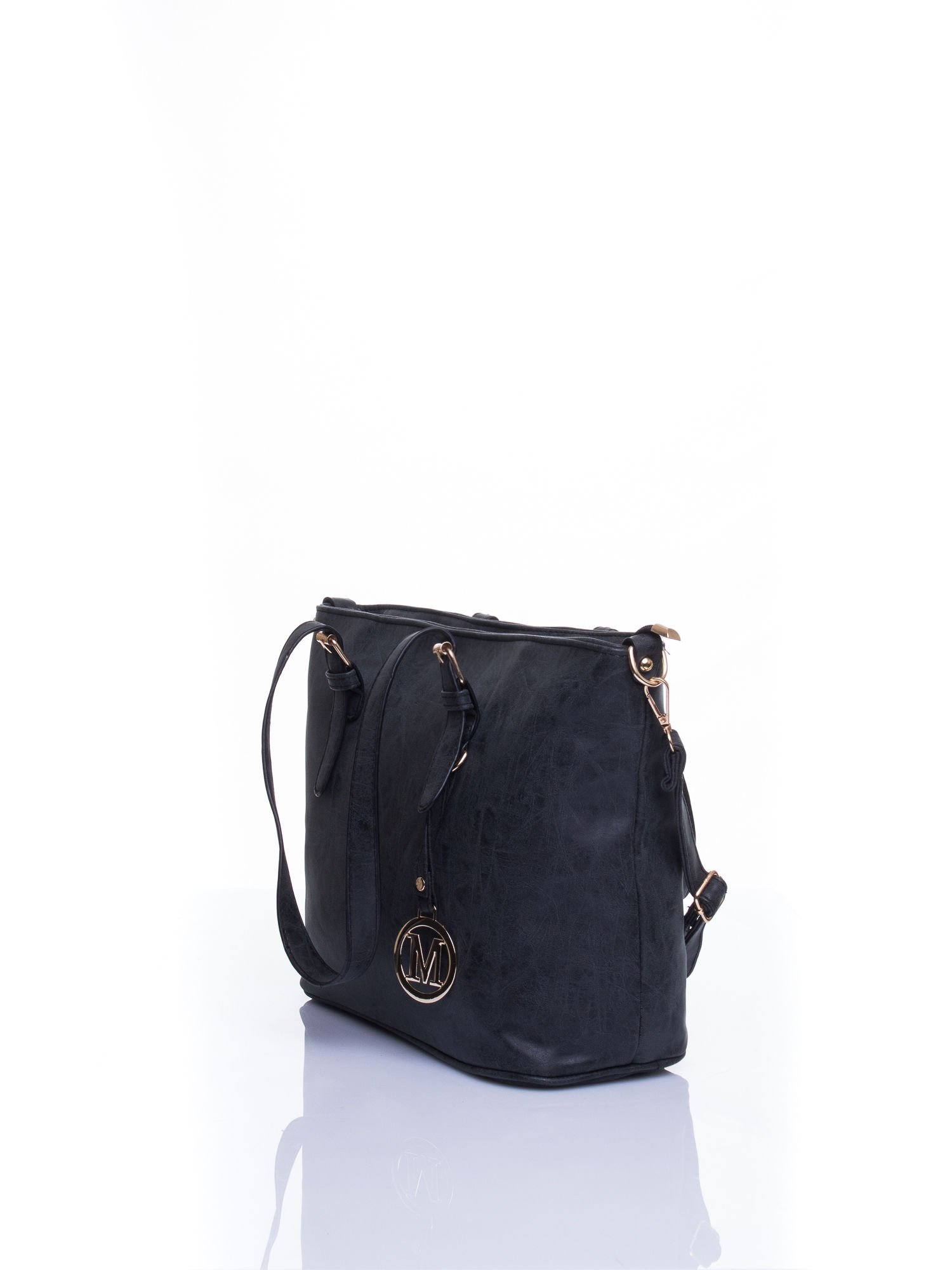 Czarna torba shopper bag z zawieszką                                  zdj.                                  3