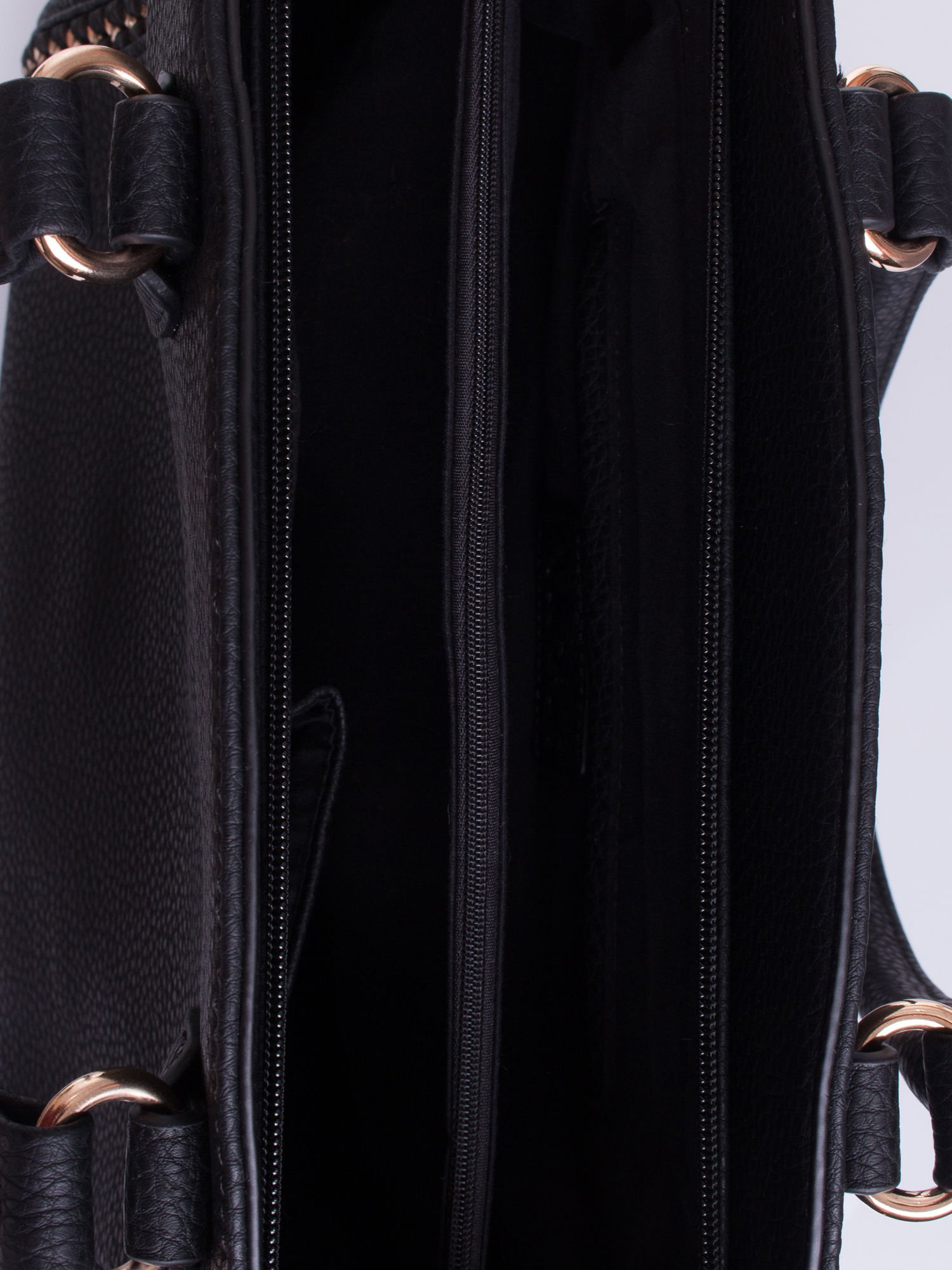 Czarna torba shopper bag ze złotymi wstawkami                                  zdj.                                  4