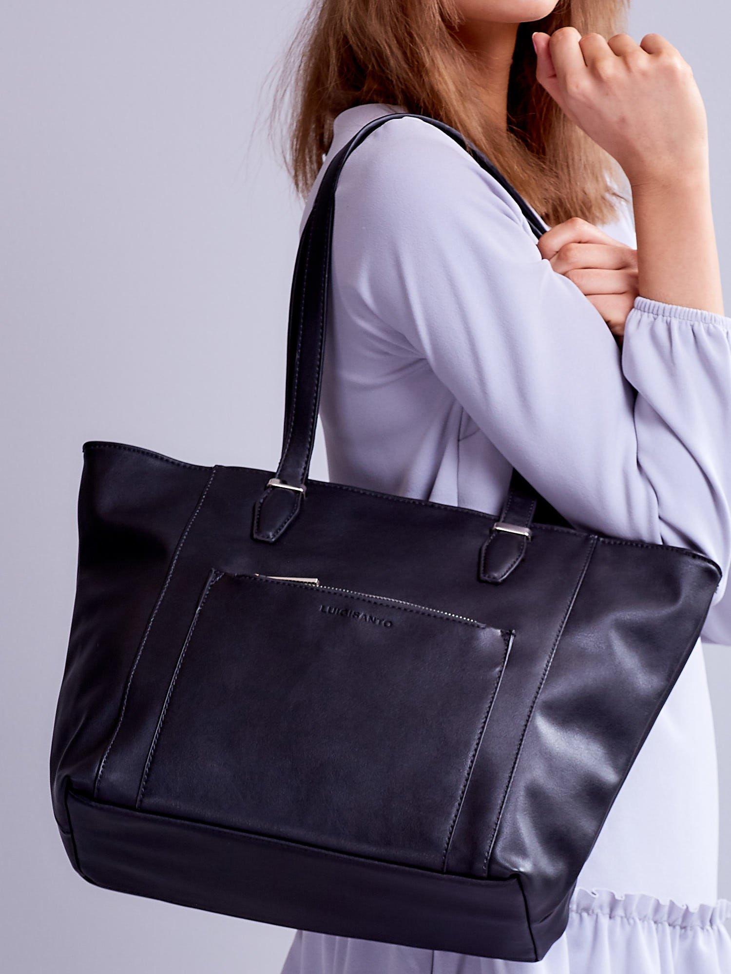 434b15ff5f877 Czarna torba shopper z ozdobną kieszenią - Akcesoria torba - sklep ...