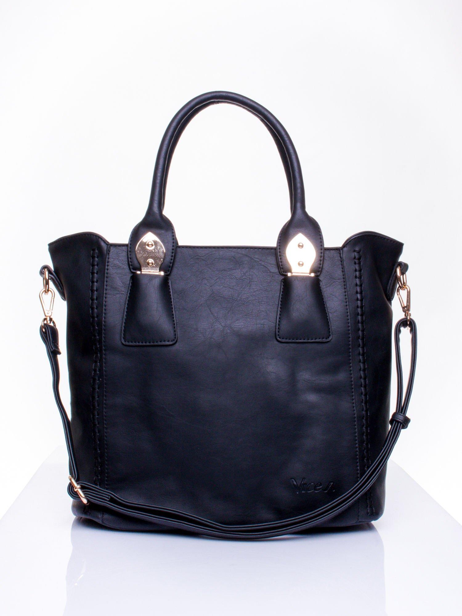 Czarna torba shopper ze stębnowaniem                                  zdj.                                  1
