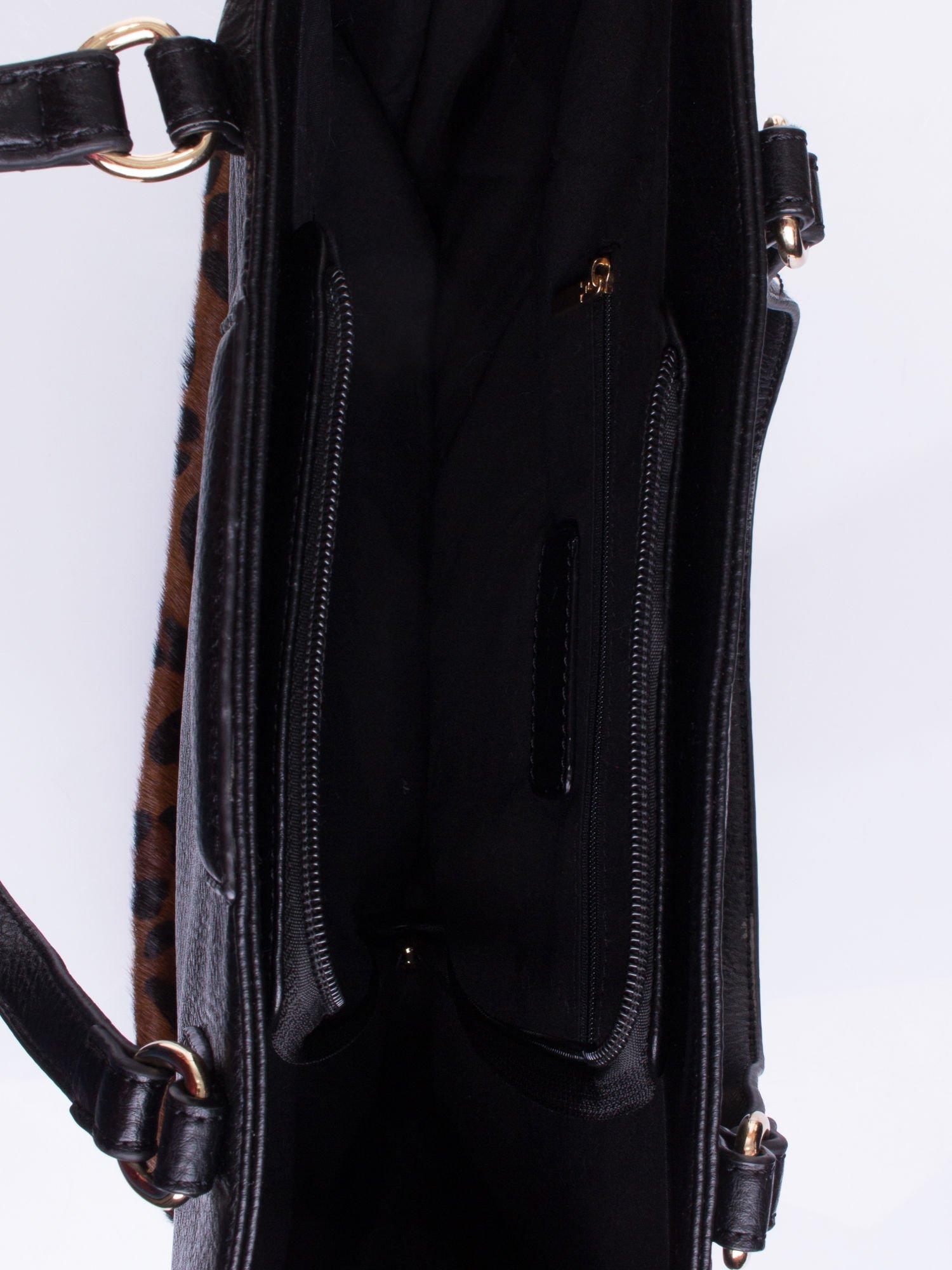 Czarna torba z panterkowym motywem                                  zdj.                                  4