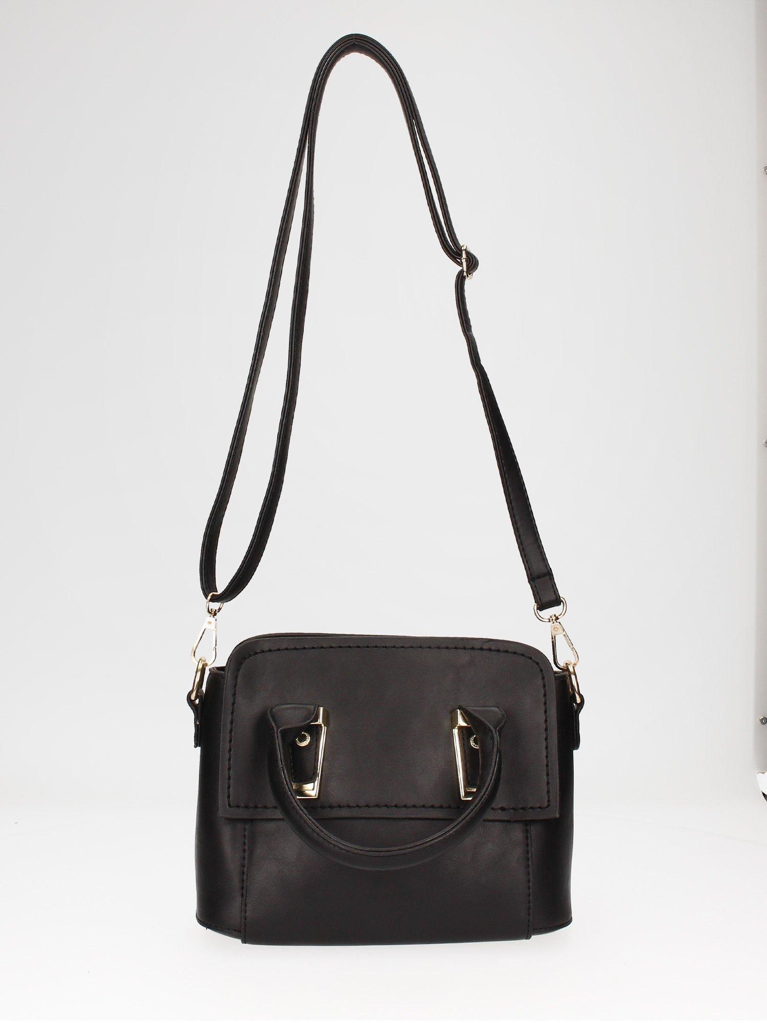 Czarna torebka kuferek z odpinanym paskiem                                  zdj.                                  5