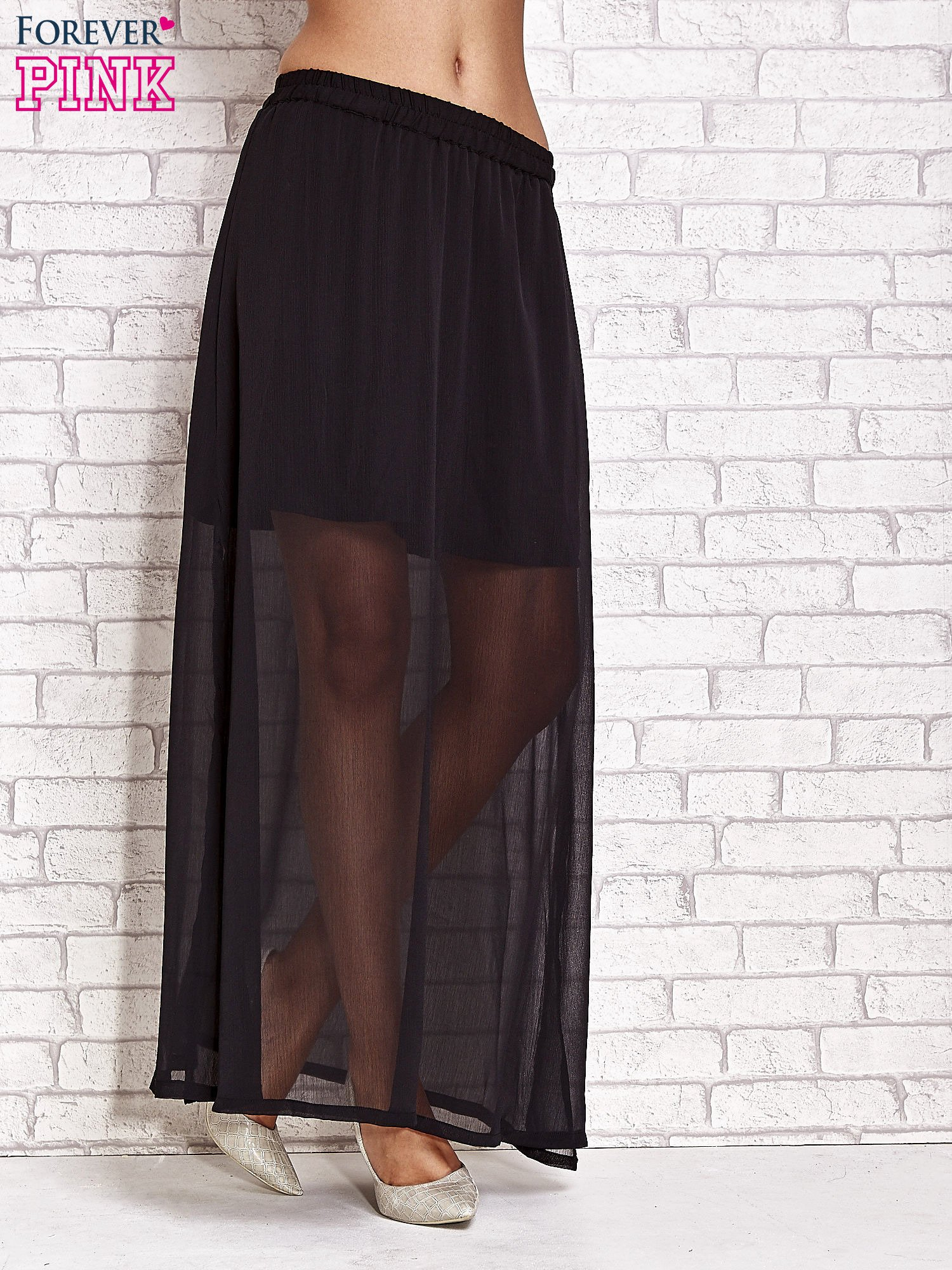Czarna transparentna spódnica maxi                                  zdj.                                  1