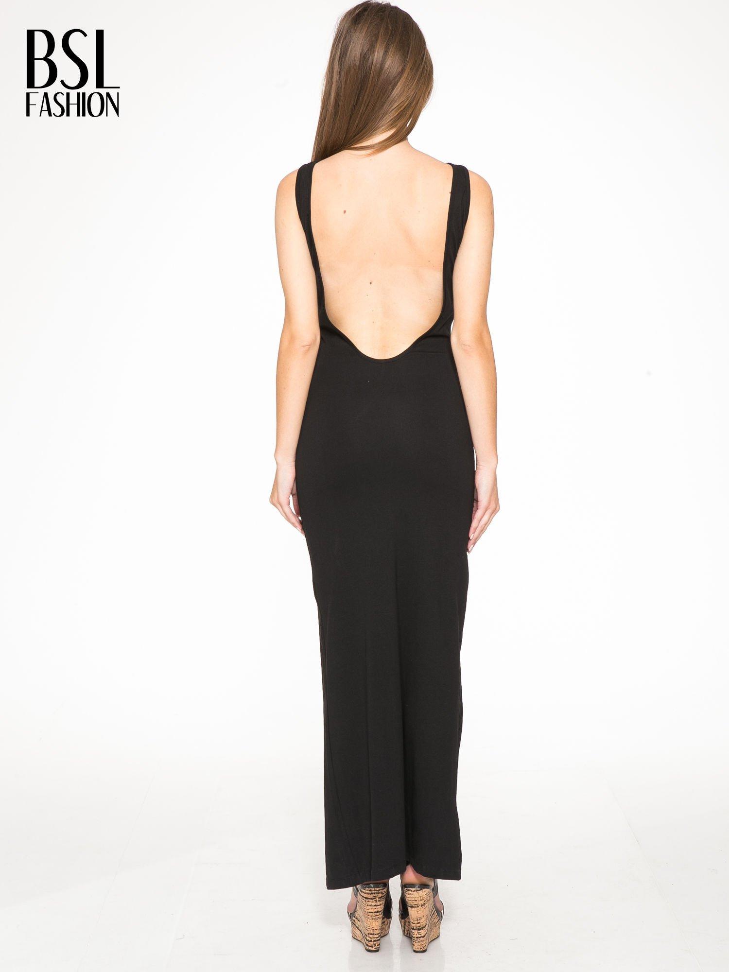 Czarna wieczorowa sukienka maxi z transparentną wstawką i dekoltem a plecach                                  zdj.                                  3